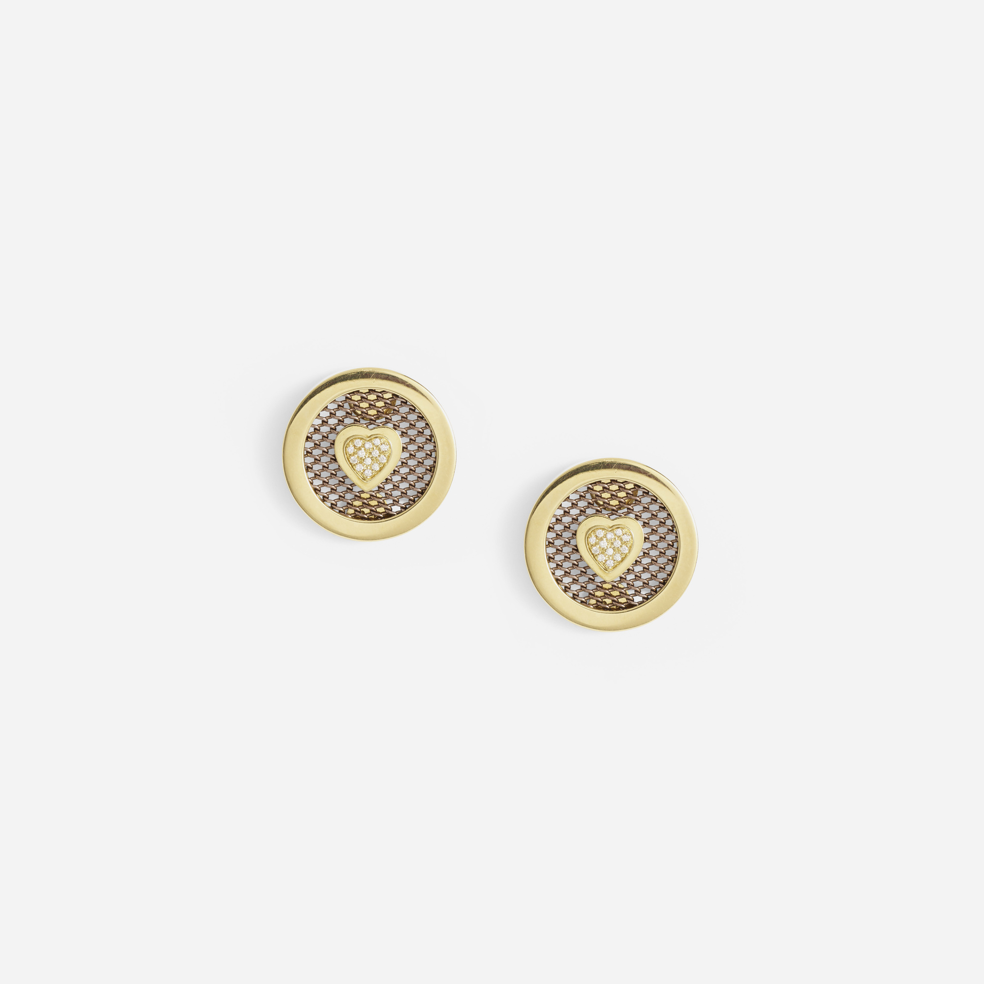 142: Sabbadini / A pair of gold, sterling silver and diamond earrings (1 of 1)