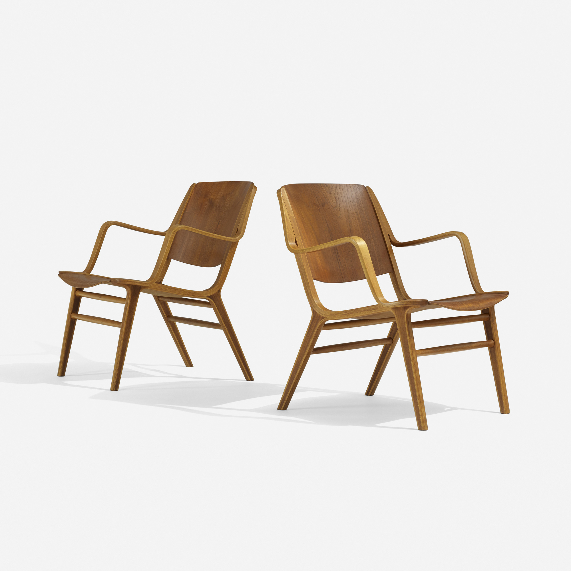 143: Peter Hvidt and Orla Mølgaard-Nielsen / Ax chairs, pair (1 of 3)