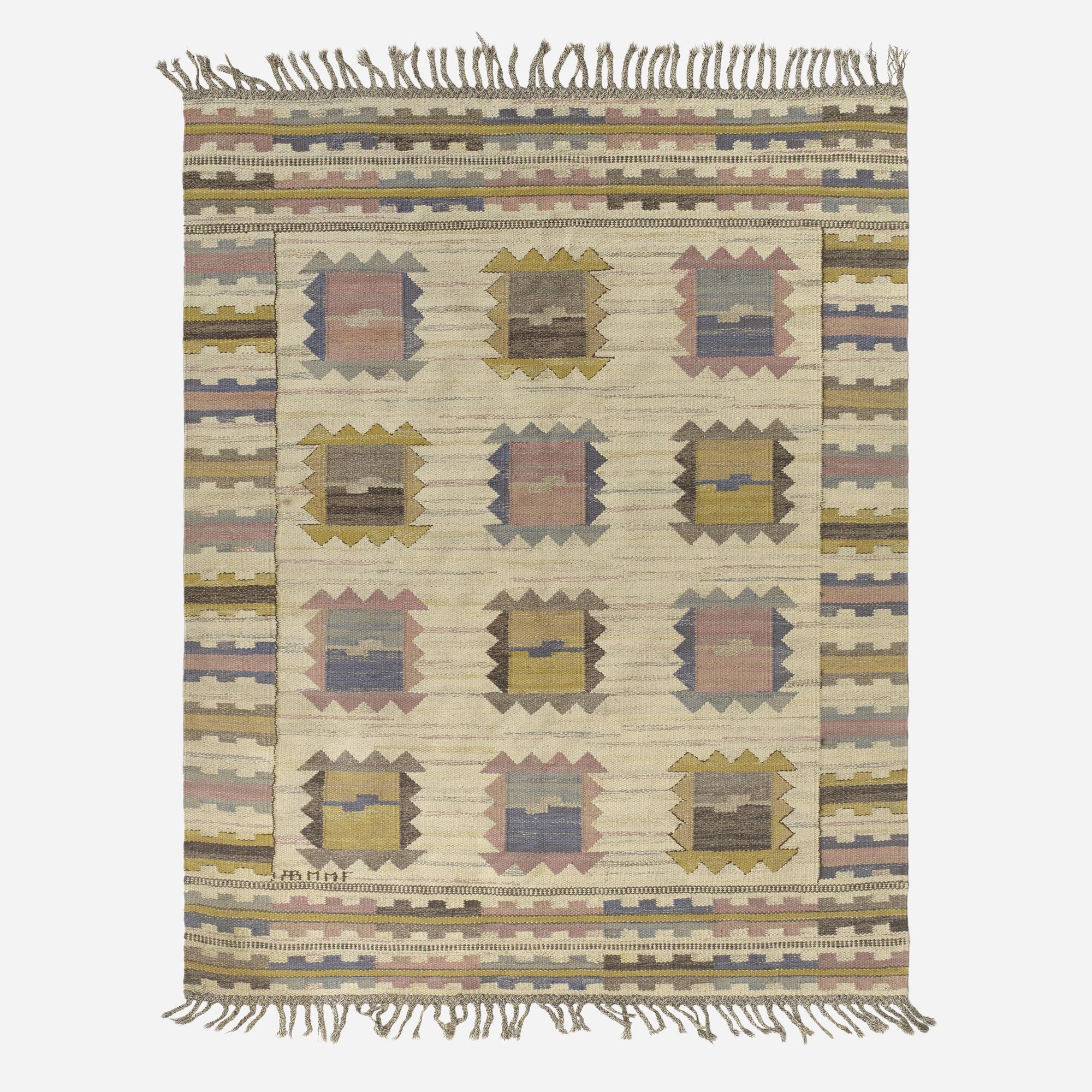143: Märta Måås-Fjetterström / Ljusa Plador flatweave carpet (1 of 1)