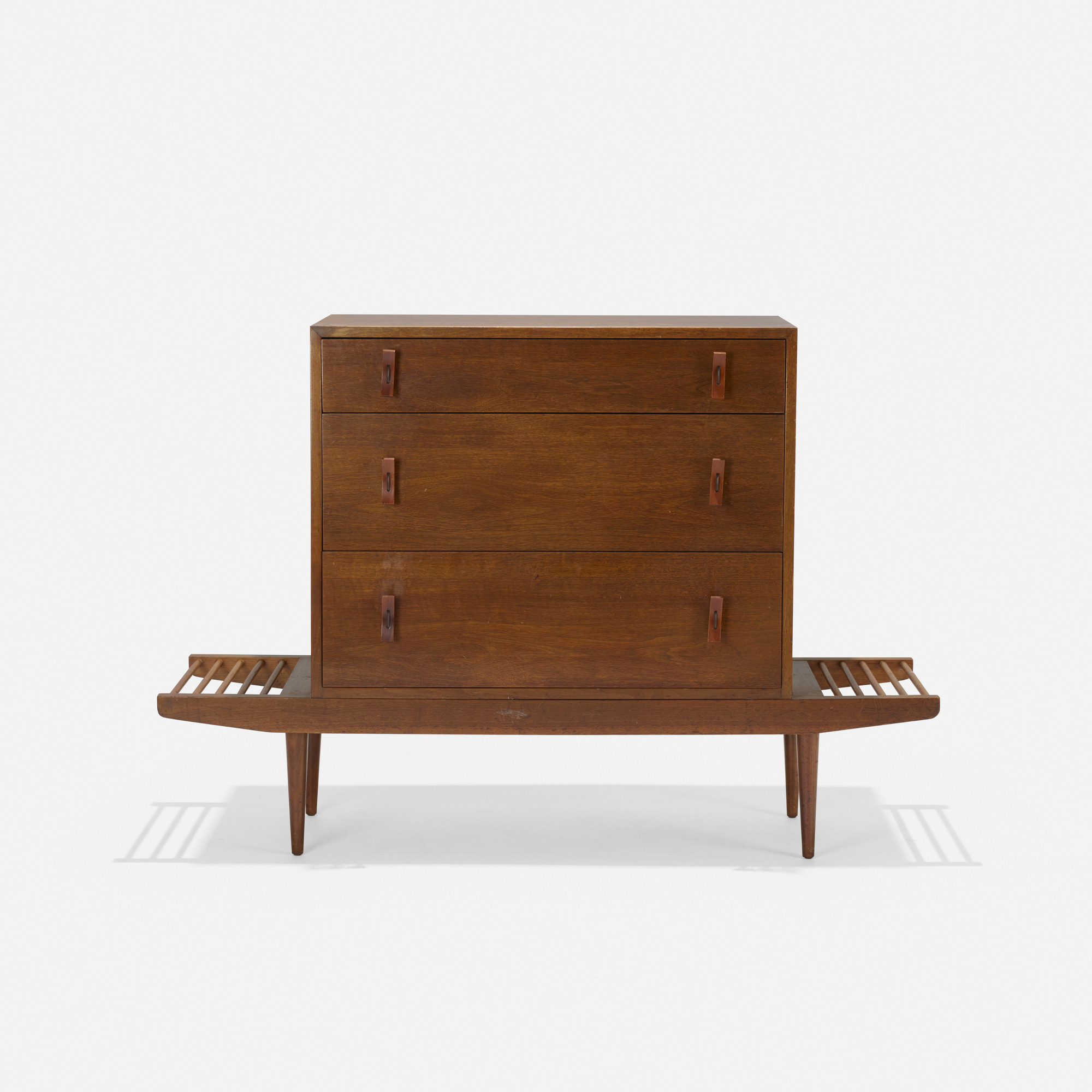 143: Milo Baughman and Stanley Young / bench with cabinet (2 of 3)