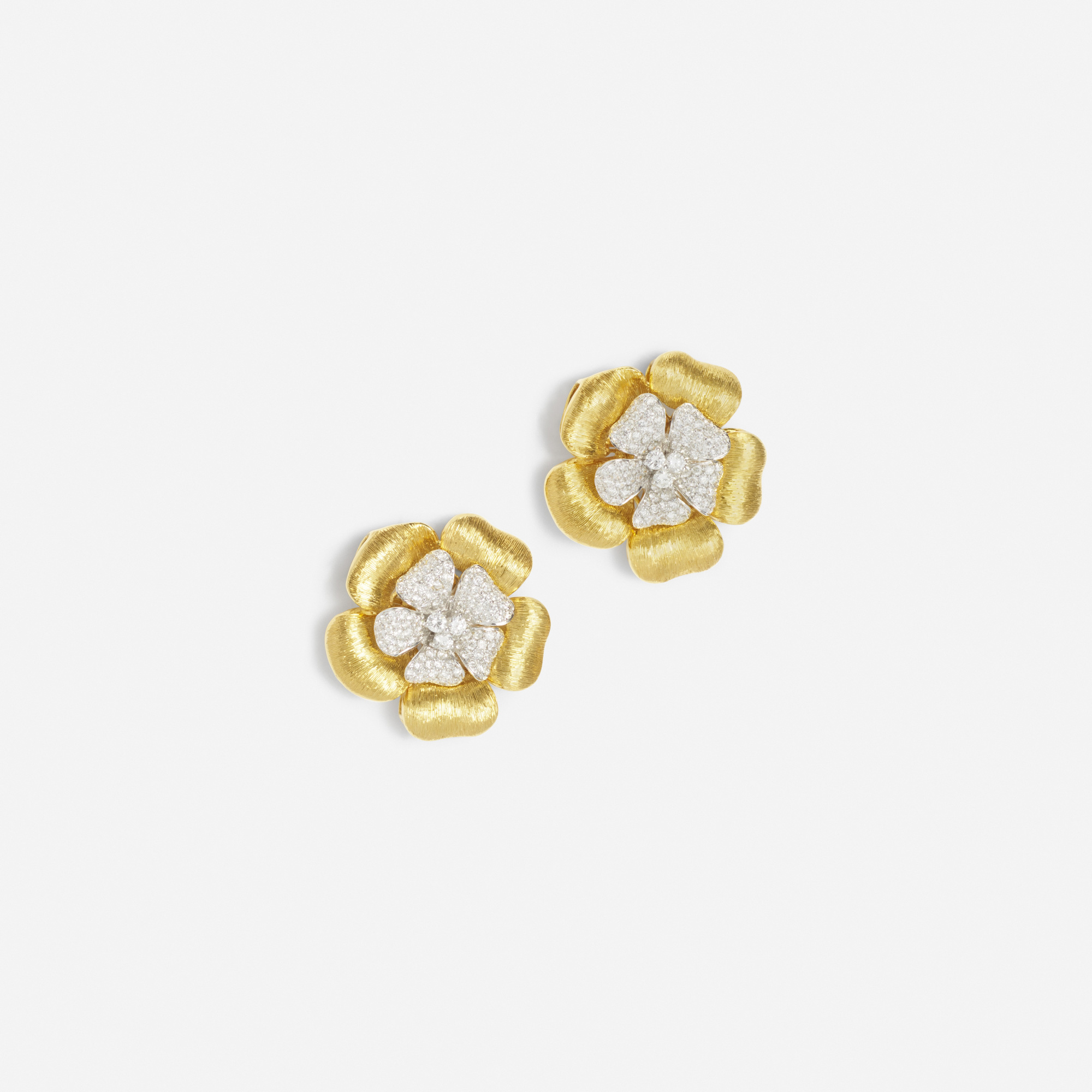 147:  / A pair of gold and diamond earrings (1 of 1)