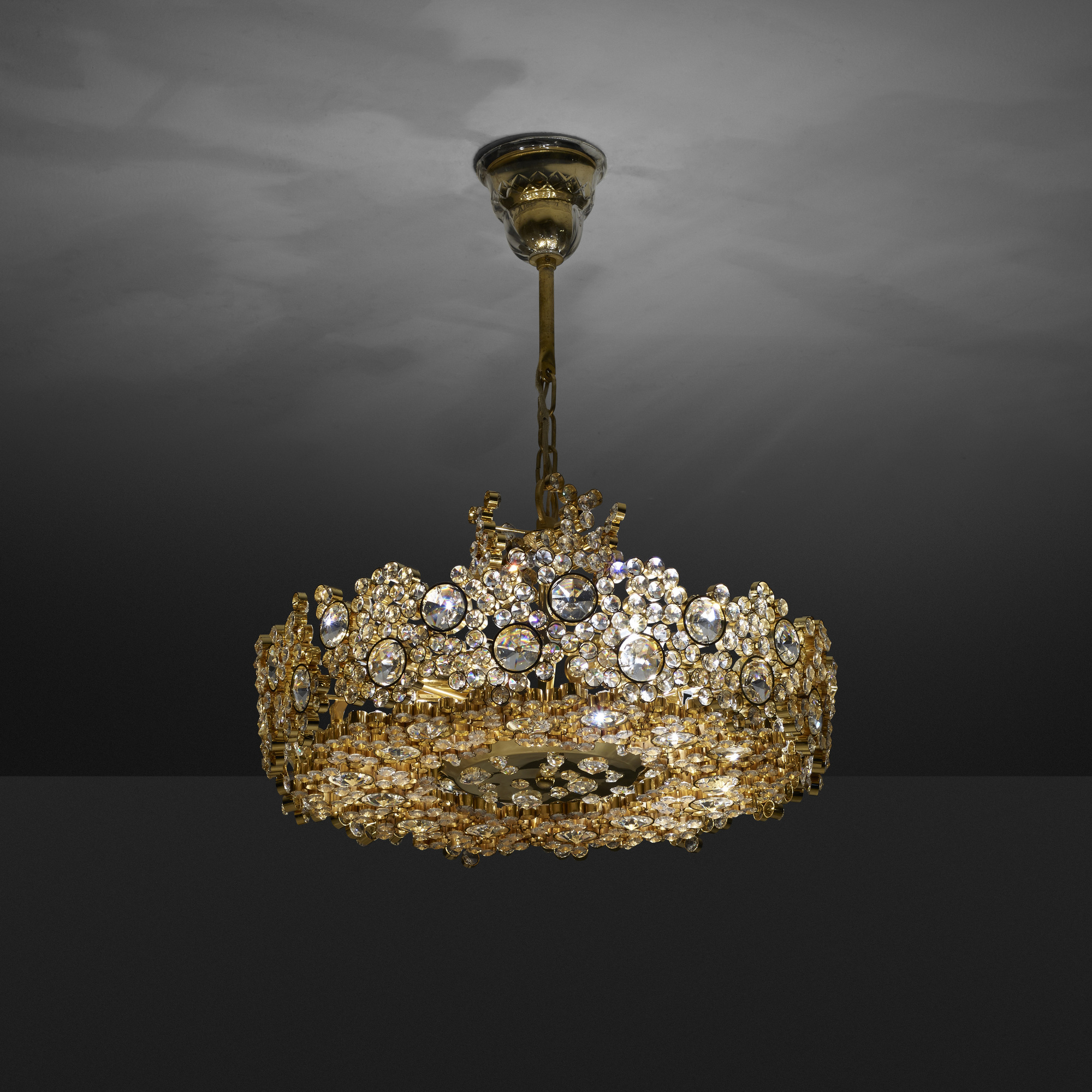 cut crystals in and cascades crystal art warm light fine wide inch item shown cfm silver chandelier hand leaf finish lamps