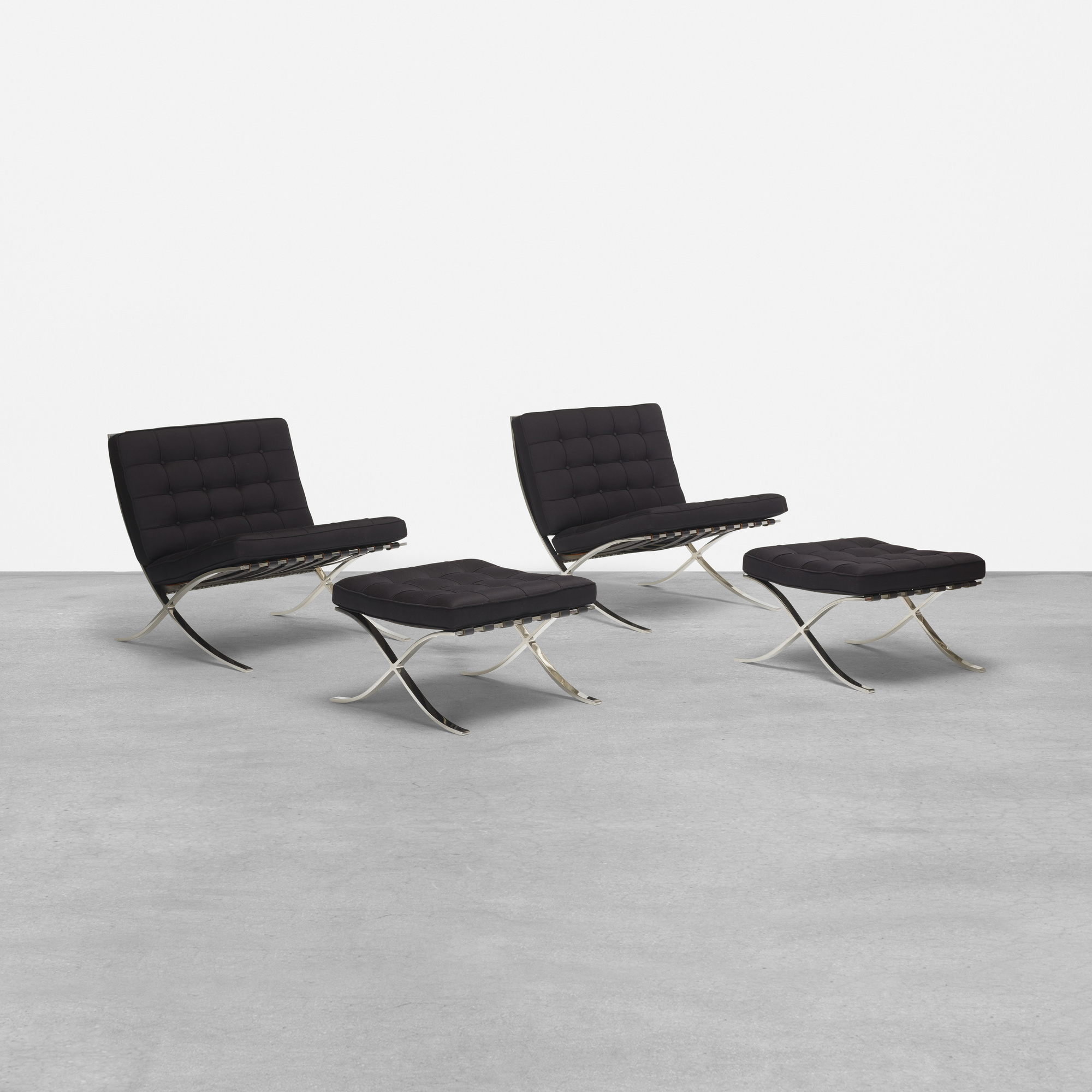 150: Ludwig Mies Van Der Rohe / Pair Of Barcelona Chairs And Ottomans (1