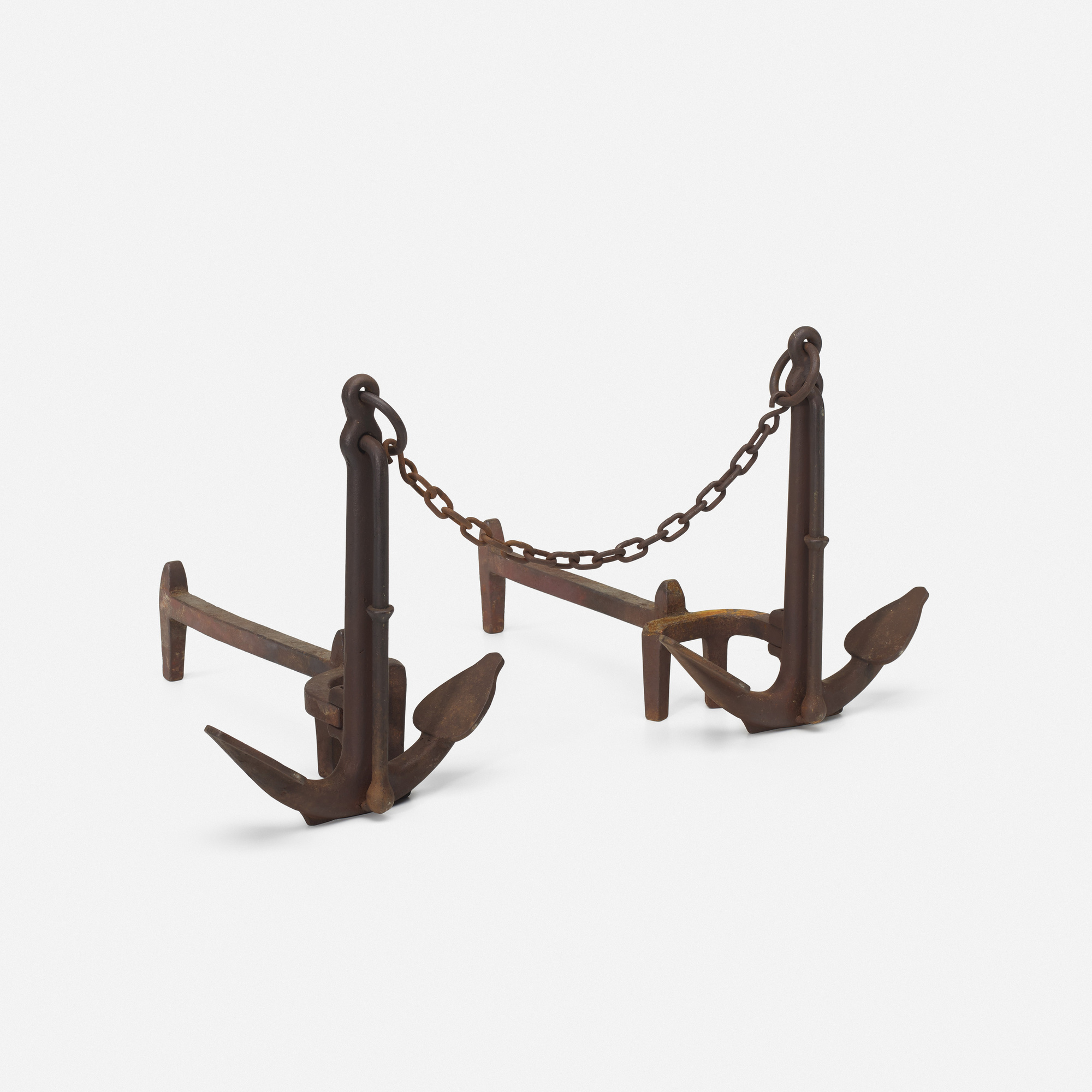 150: American / anchor andirons, pair (1 of 1)