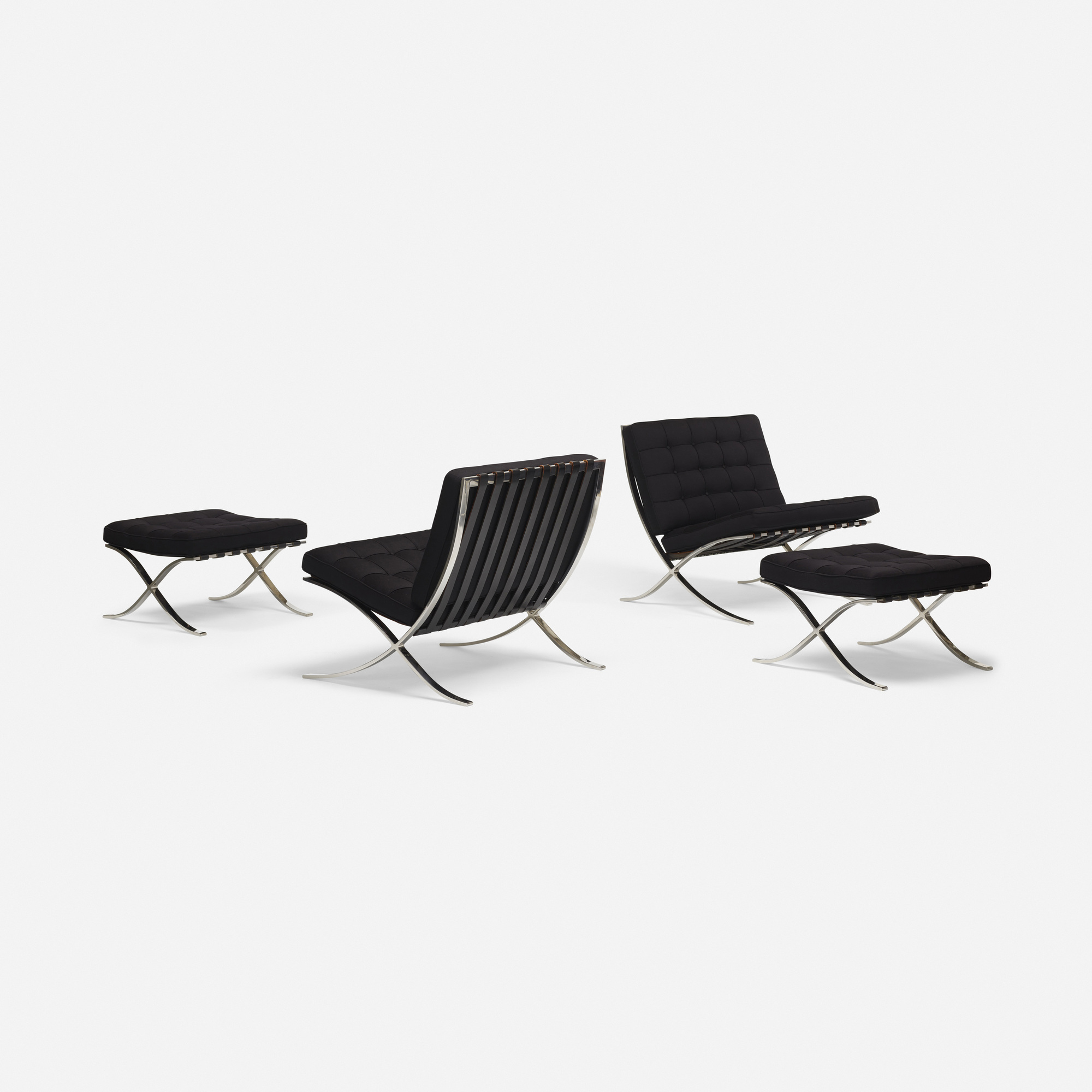 150 Ludwig Mies van der Rohe pair of Barcelona chairs and