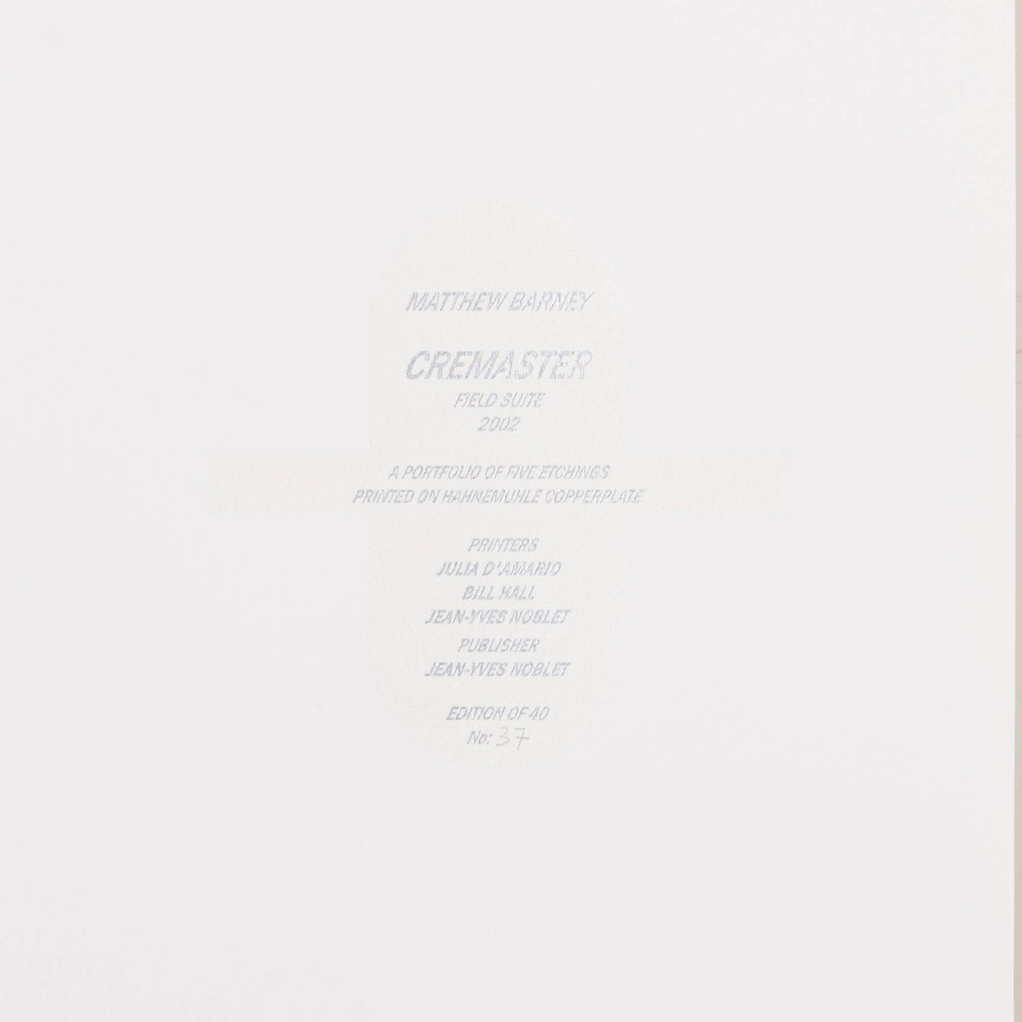 150: Matthew Barney / Cremaster: Field Suite (portfolio of five works) (2 of 3)