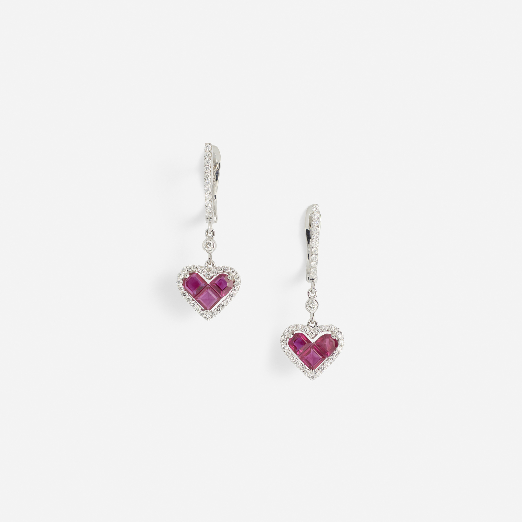 152:  / A pair of gold, diamond and ruby earrings (1 of 2)