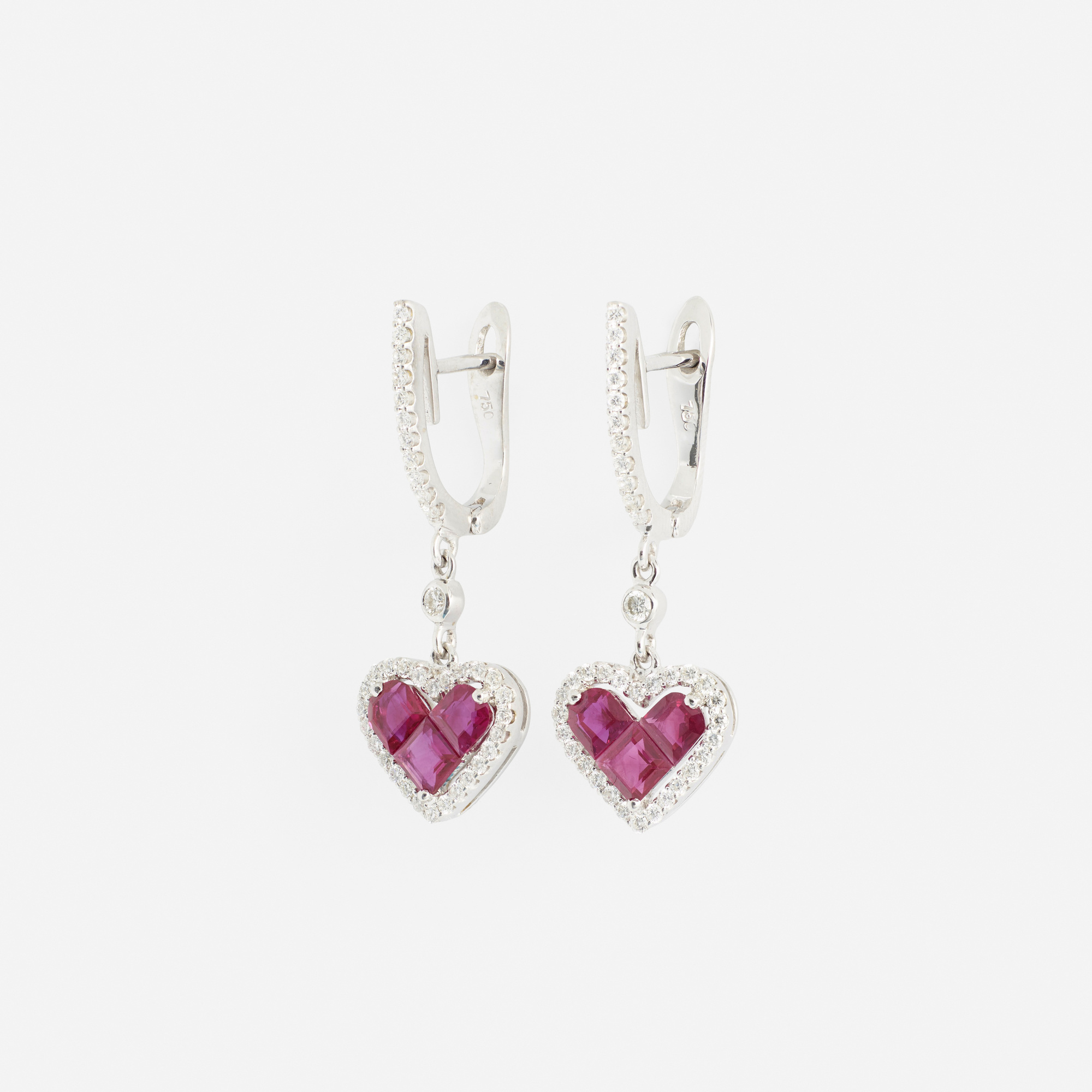 152:  / A pair of gold, diamond and ruby earrings (2 of 2)