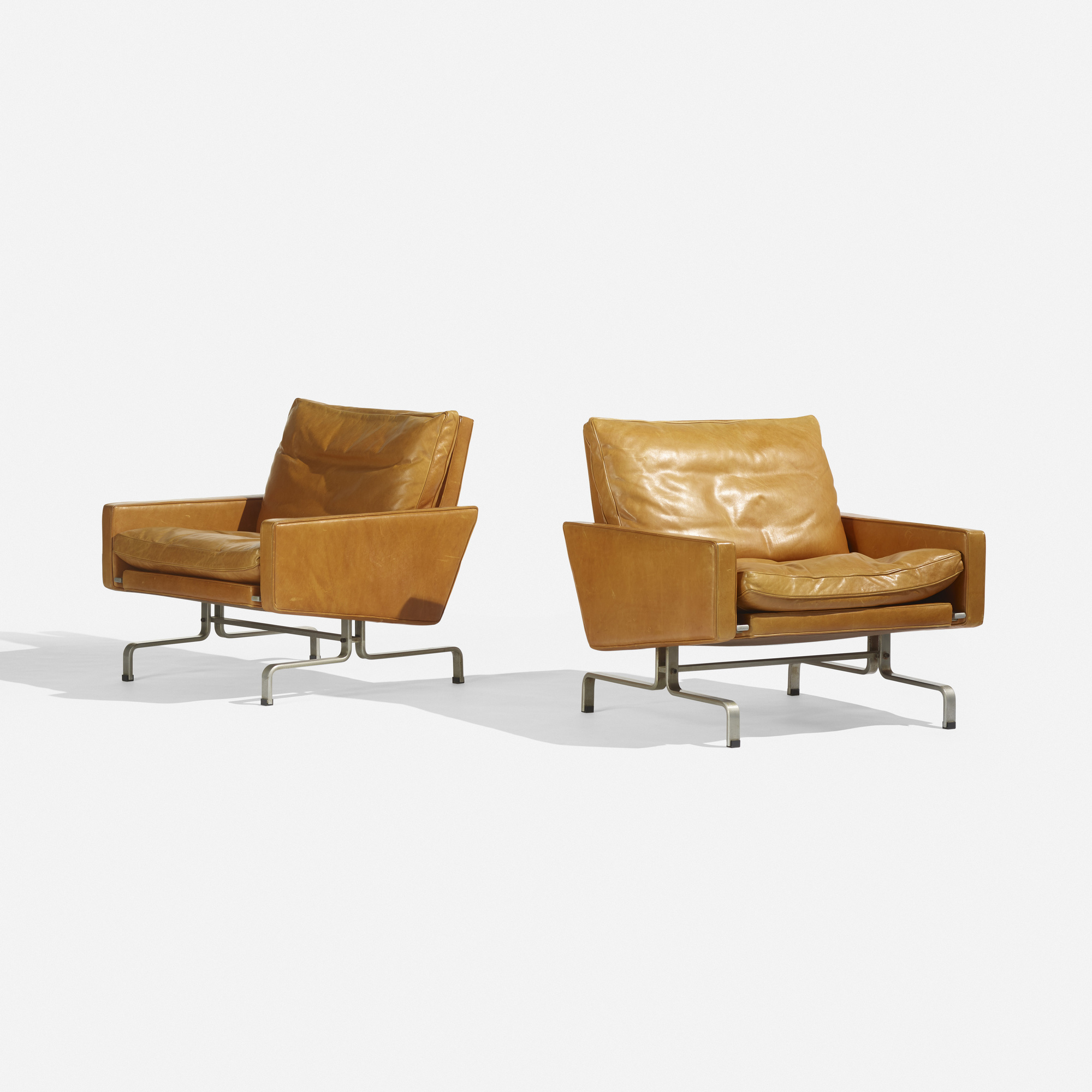 154 Poul Kjaerholm / PK 31/1 lounge chairs pair (1 of  sc 1 st  Wright Auctions & 154: POUL KJAERHOLM PK 31/1 lounge chairs pair u003c Scandinavian ...
