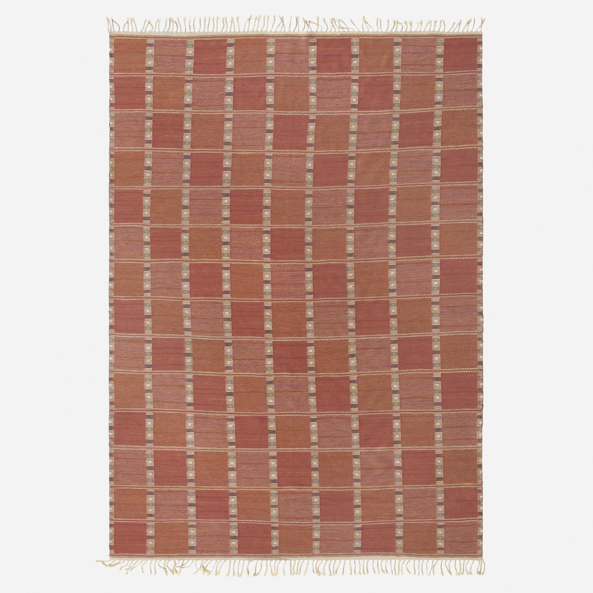 155: Barbro Nilsson / rare Falurutan flatweave carpet (1 of 2)