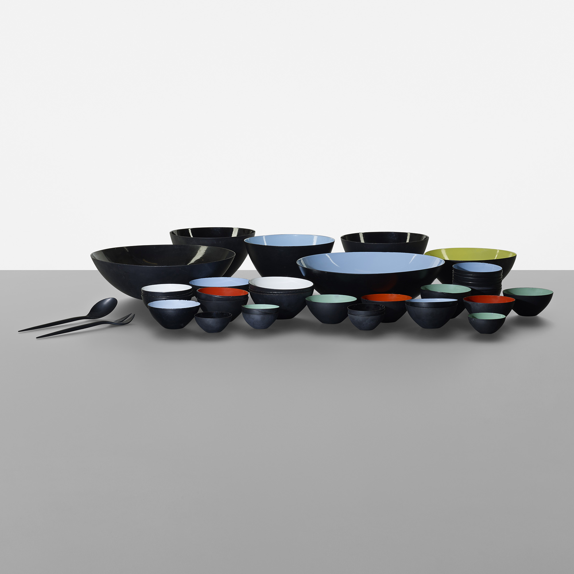 155: Herbert Krenchel / set of forty-three Krenit bowls with two serving utensils (1 of 4)