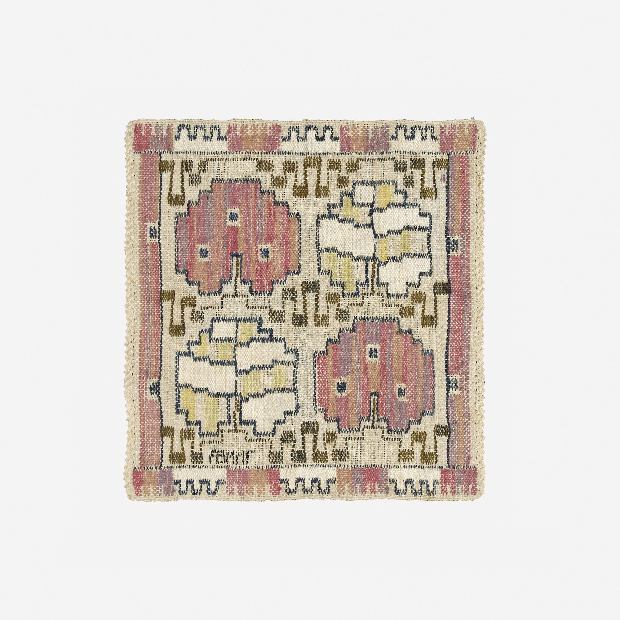 155: Märta Måås-Fjetterström / Grodblad tapestry weave pillow case (1 of 1)