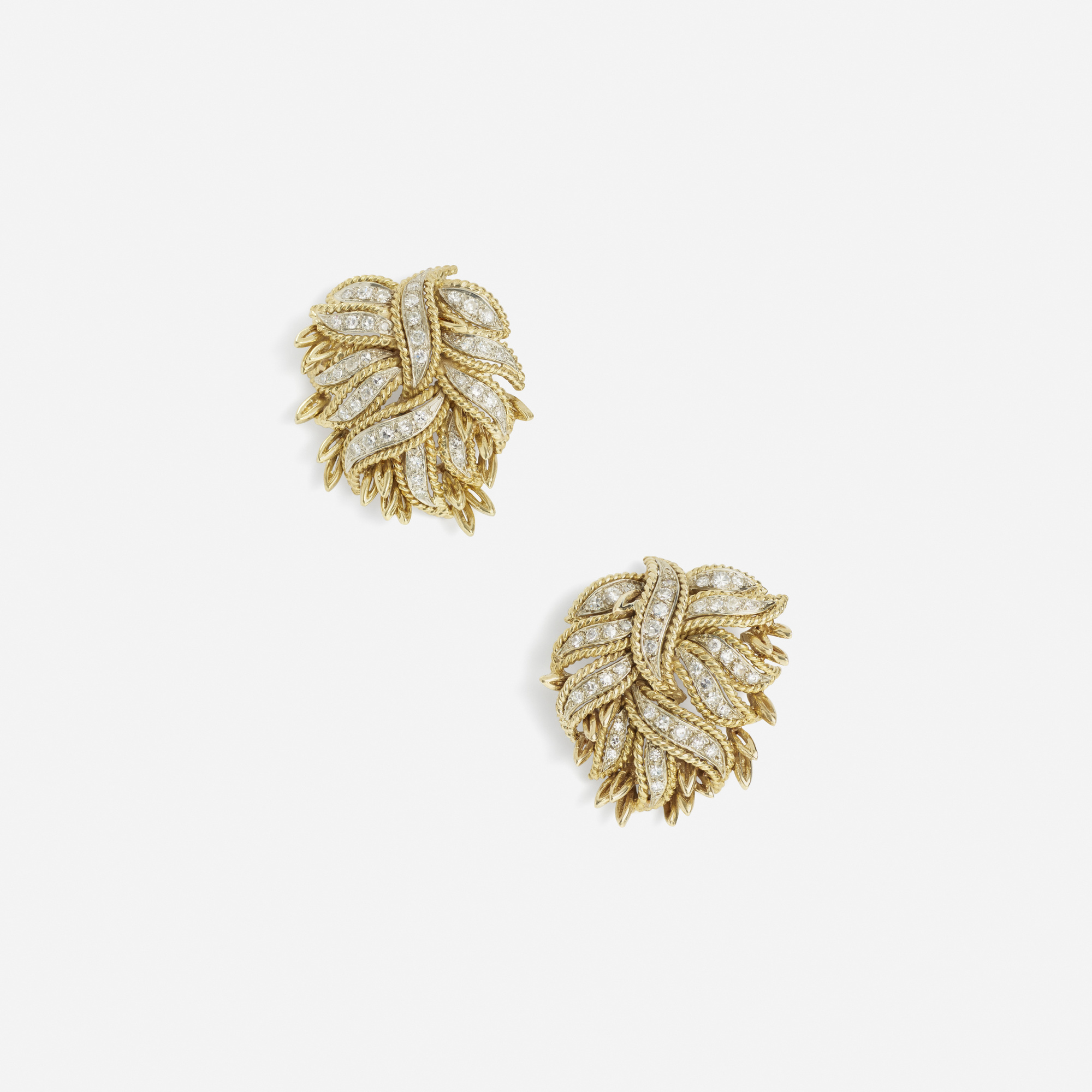 156:  / A pair of gold and diamond earrings (1 of 1)