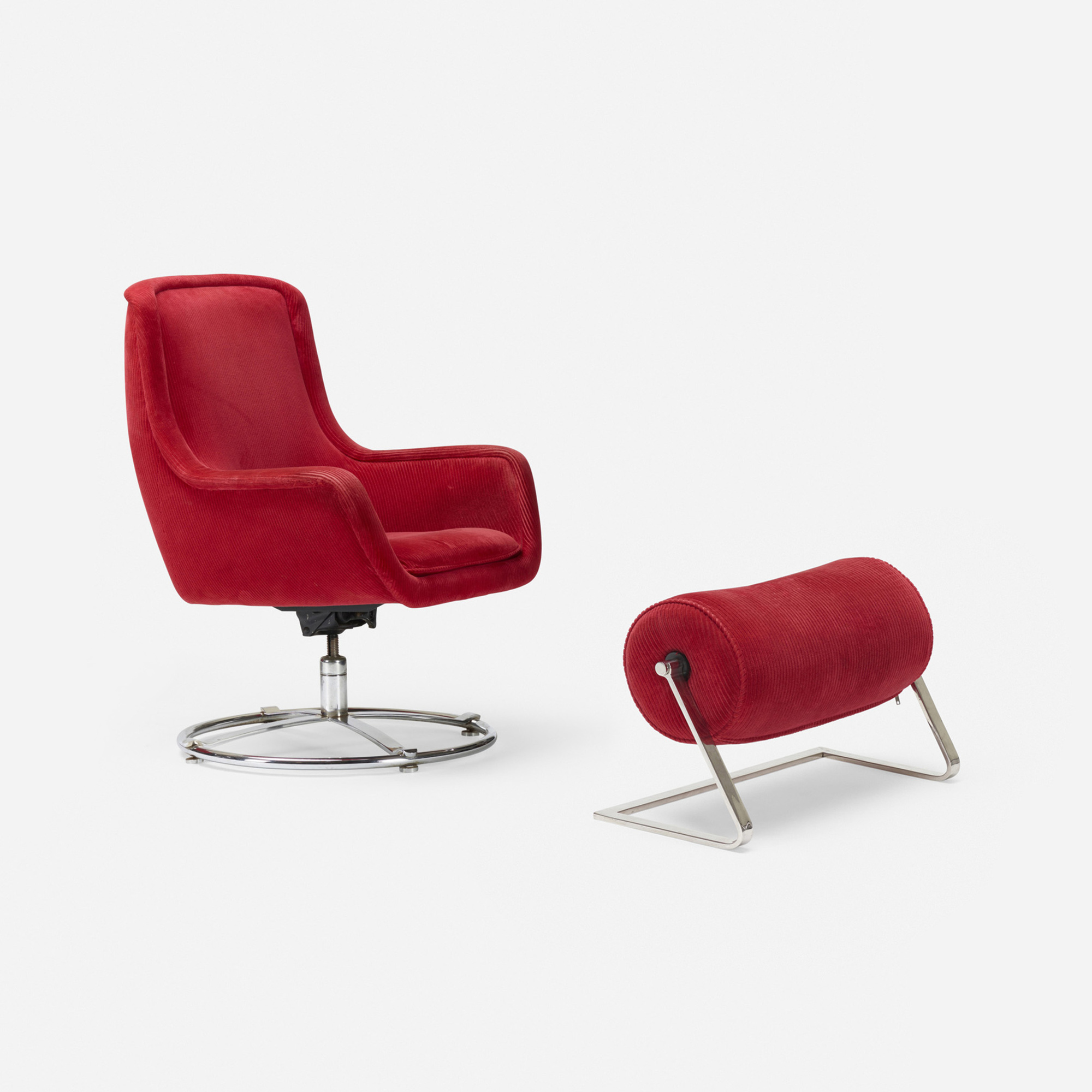 165: Ward Bennett / lounge chair model, 1041 and ottoman model, 1059 (1 of 1)