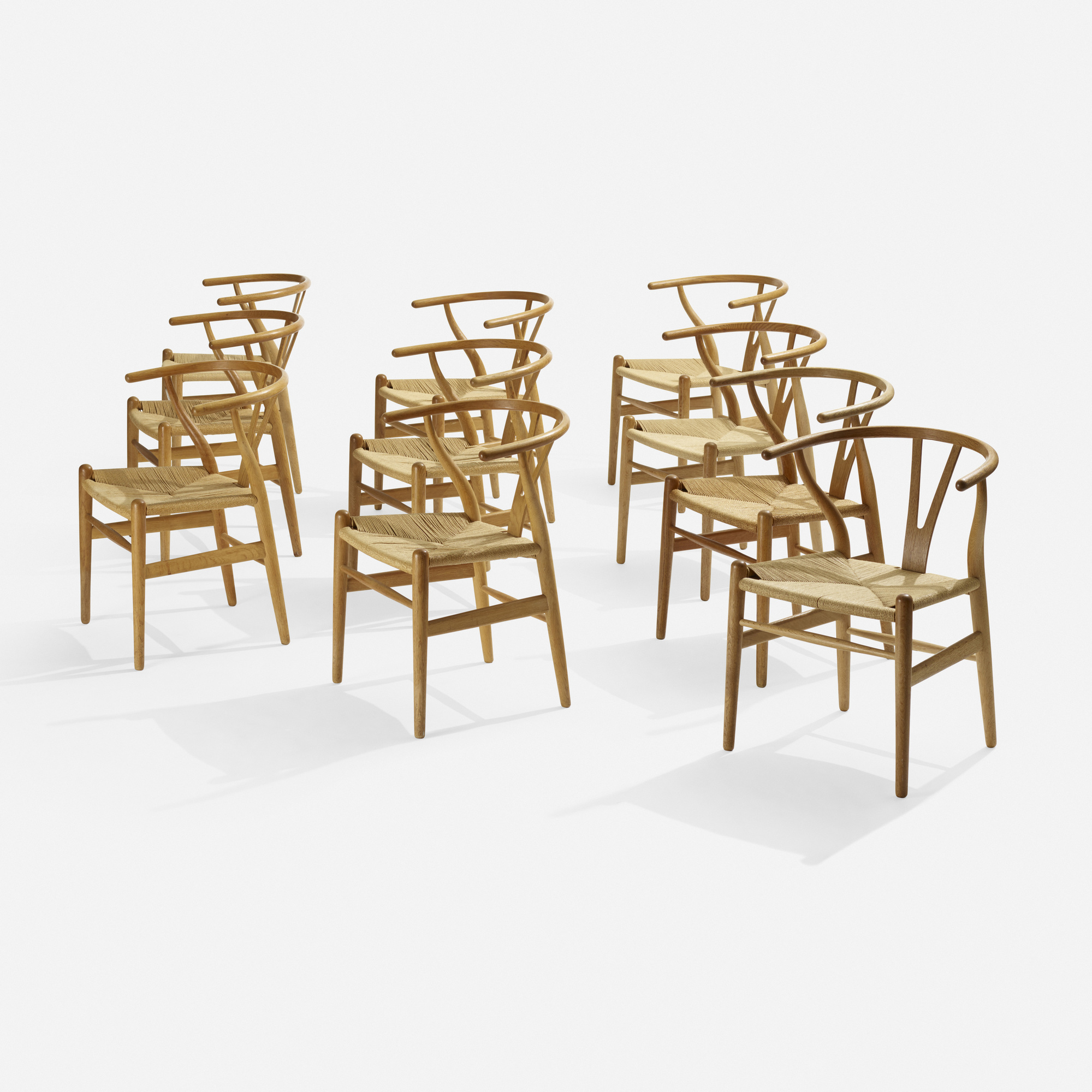 165 Hans J Wegner Wishbone chairs model CH24 set of ten