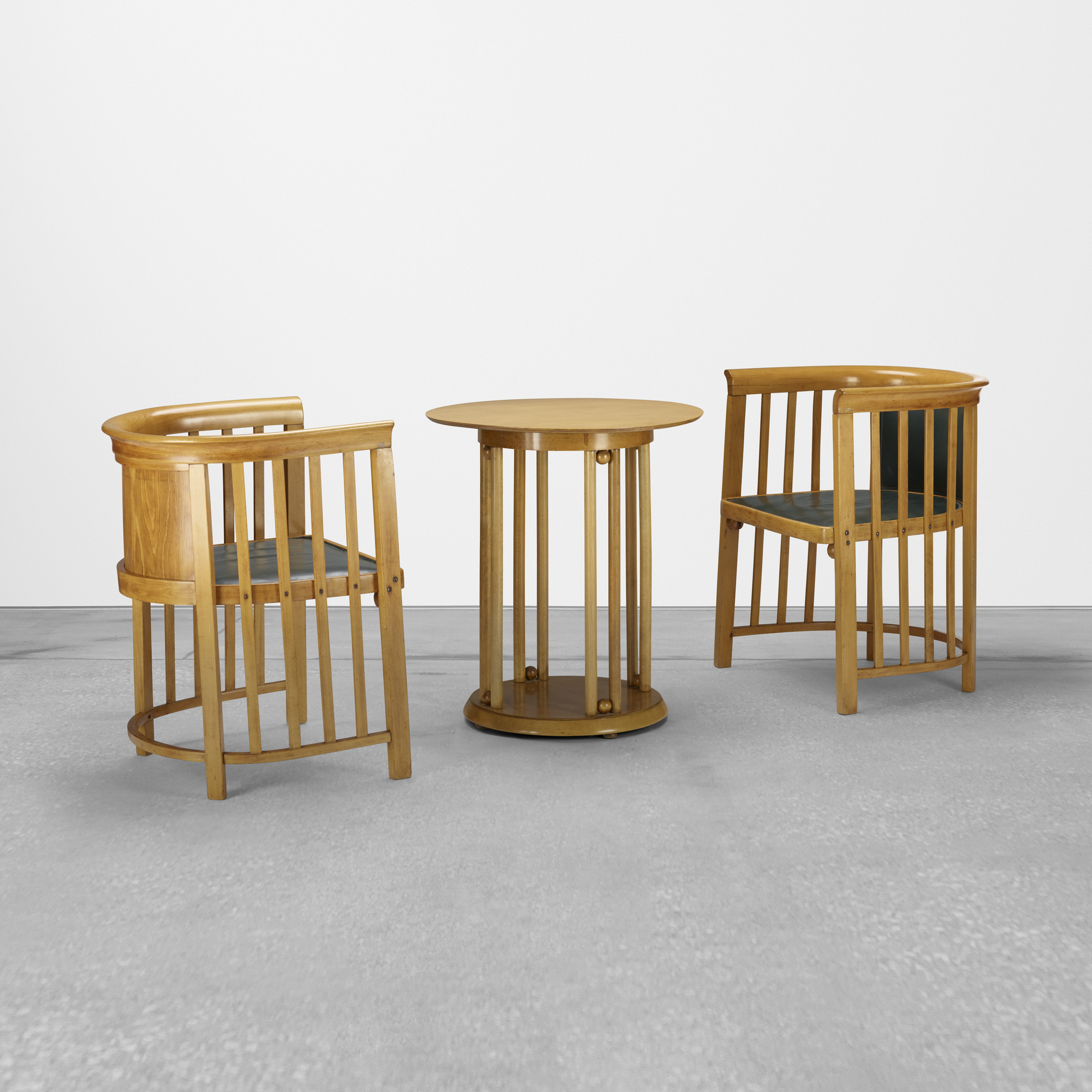 166: Josef Hoffmann / pair of chairs and occasional table (1 of 2)