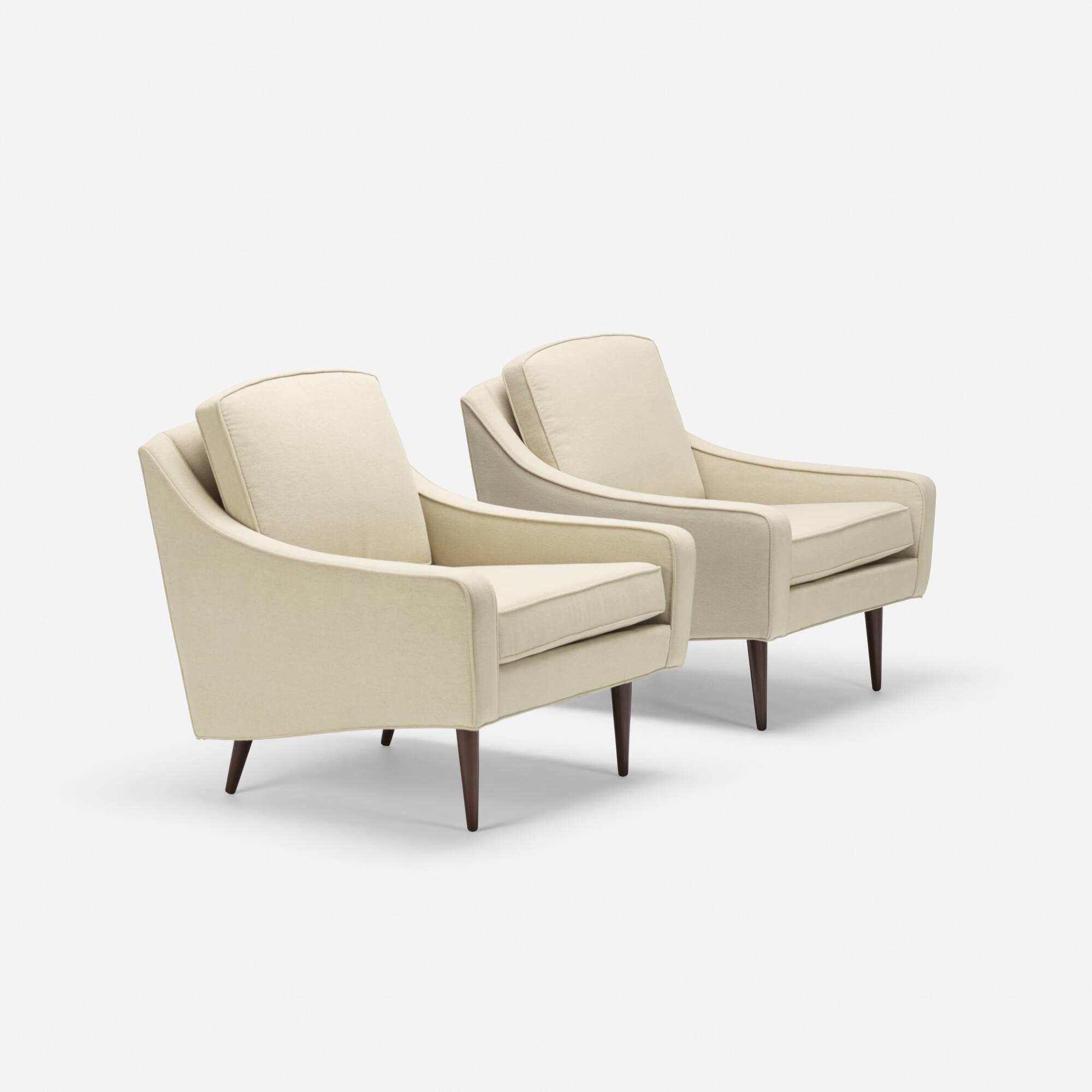 168: Milo Baughman / lounge chairs, pair (1 of 4)