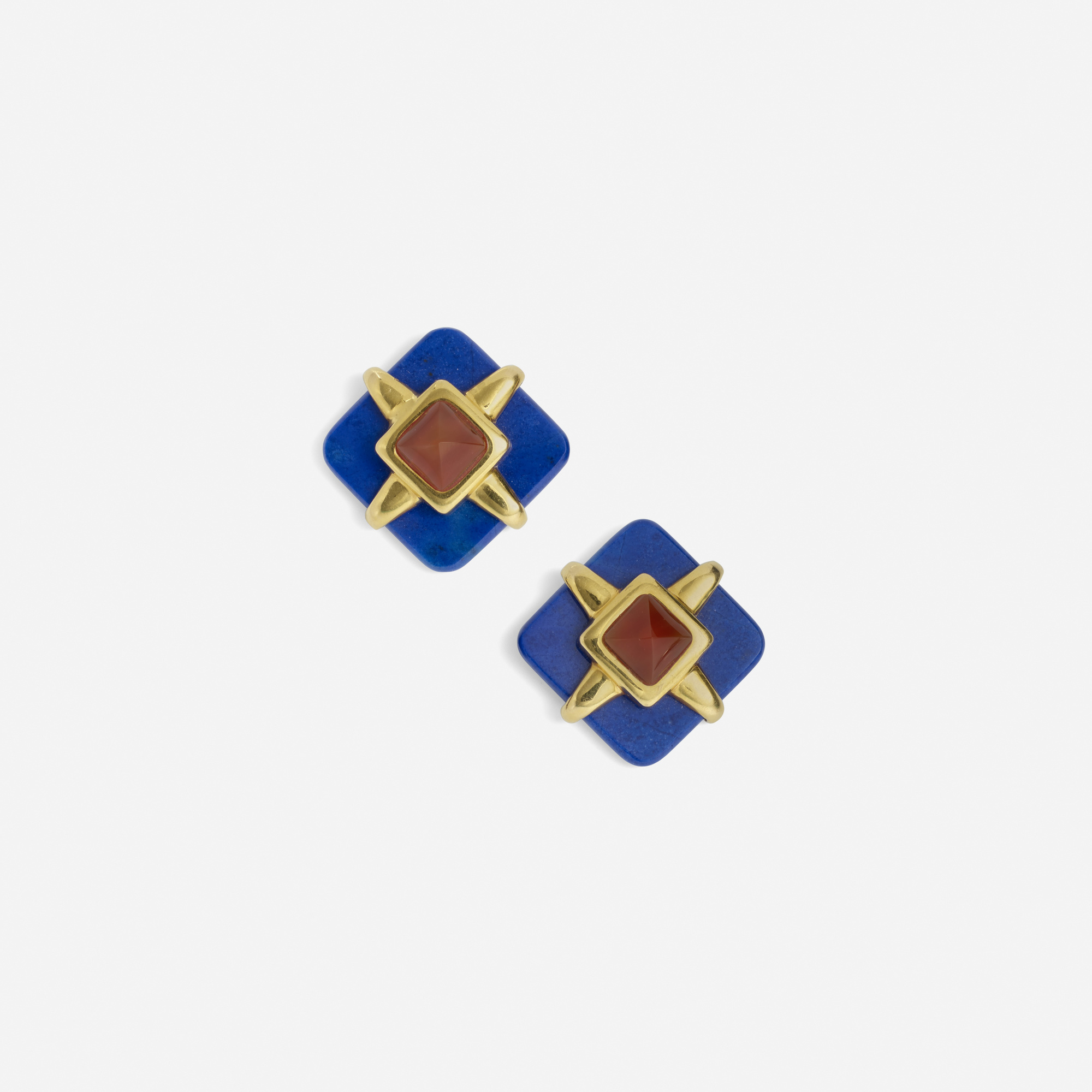 173: Aldo Cipullo for Cartier / A pair of gold, lapis lazuli and carnelian chalcedony earrings (1 of 1)