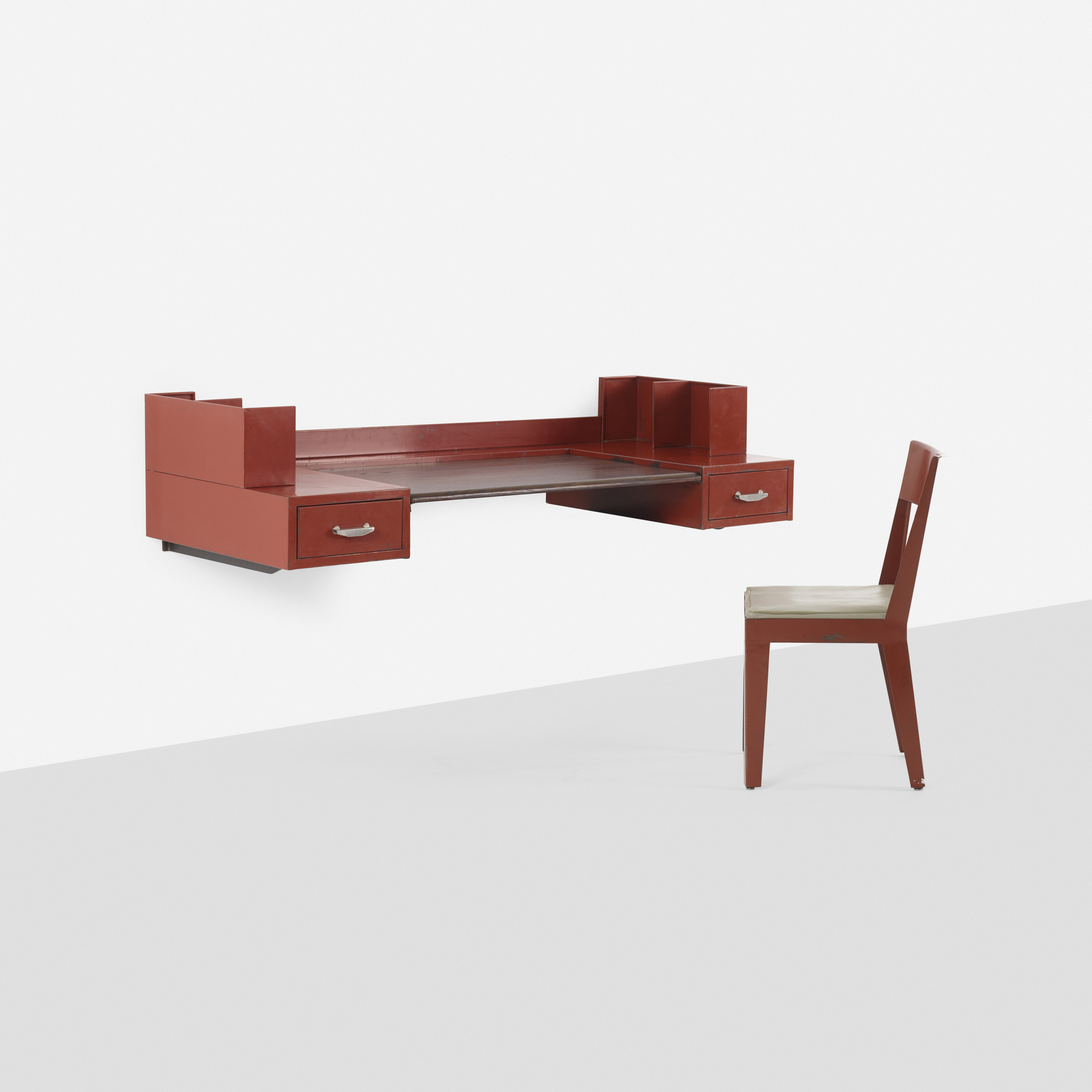 179: JULES LELEU AND JEAN PROUVÉ, wall-mounted desk and chair for ...