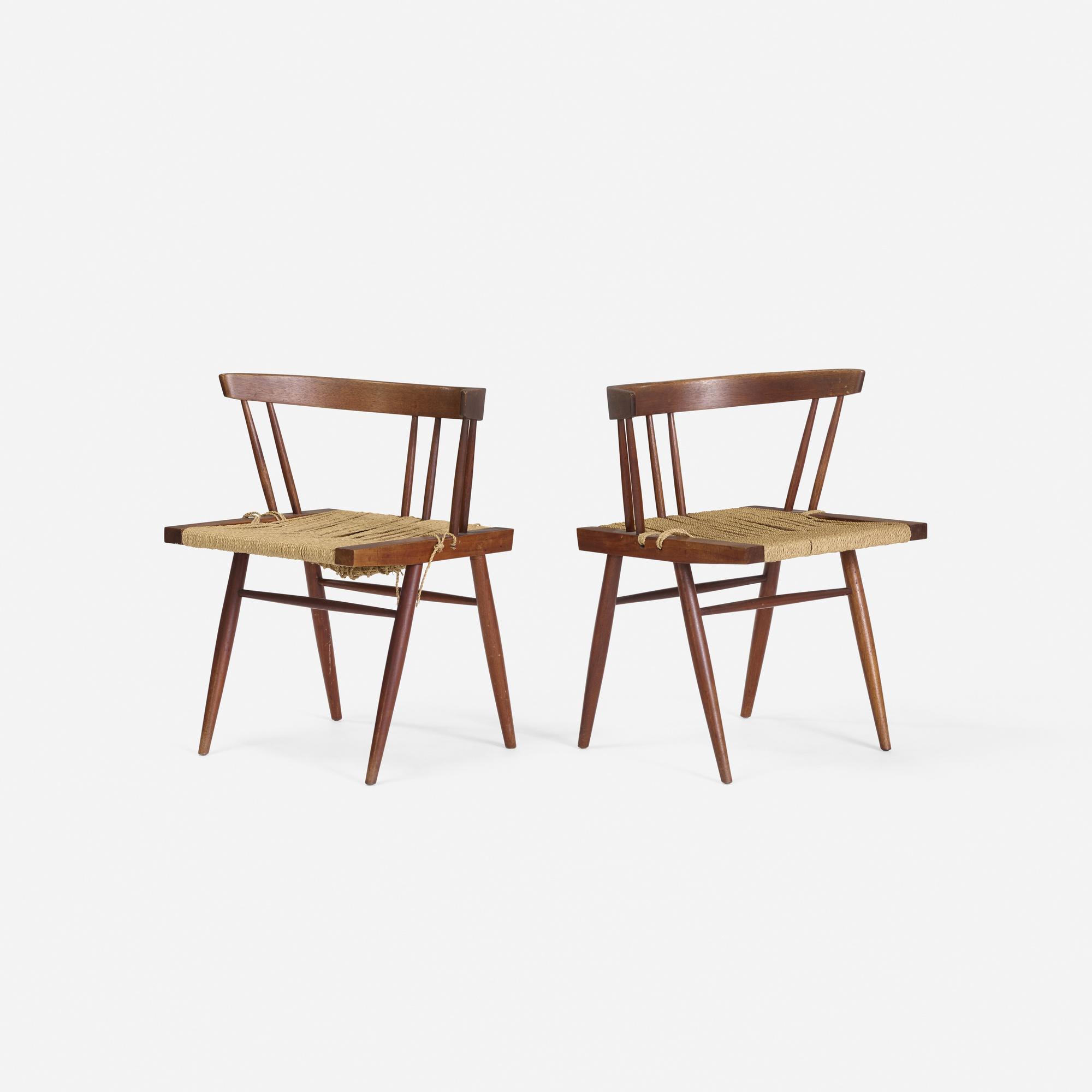 181: George Nakashima / Grass-Seated chairs, pair (1 of 1)