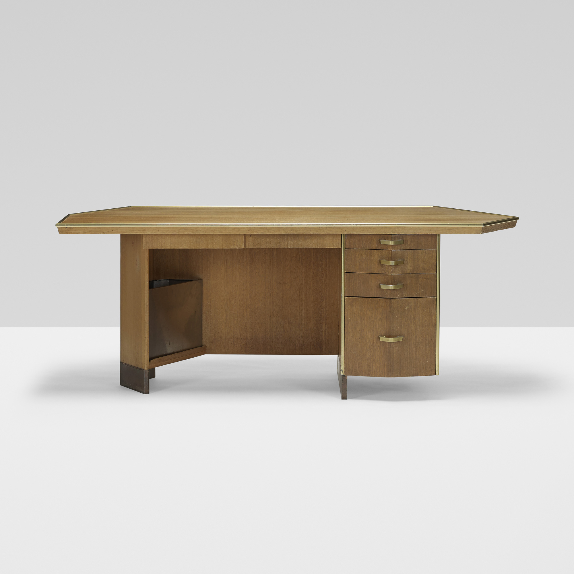 182: FRANK LLOYD WRIGHT, desk with wastebasket from Price Tower, Bartlesville, Oklahoma
