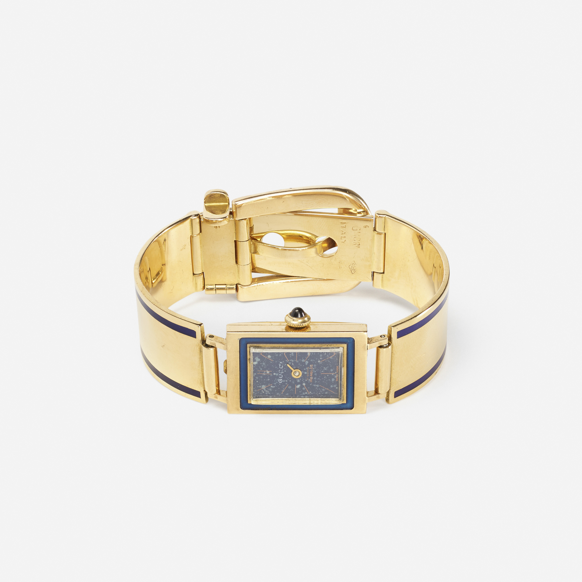 185: Gucci / A gold and enamel buckle watch (1 of 1)