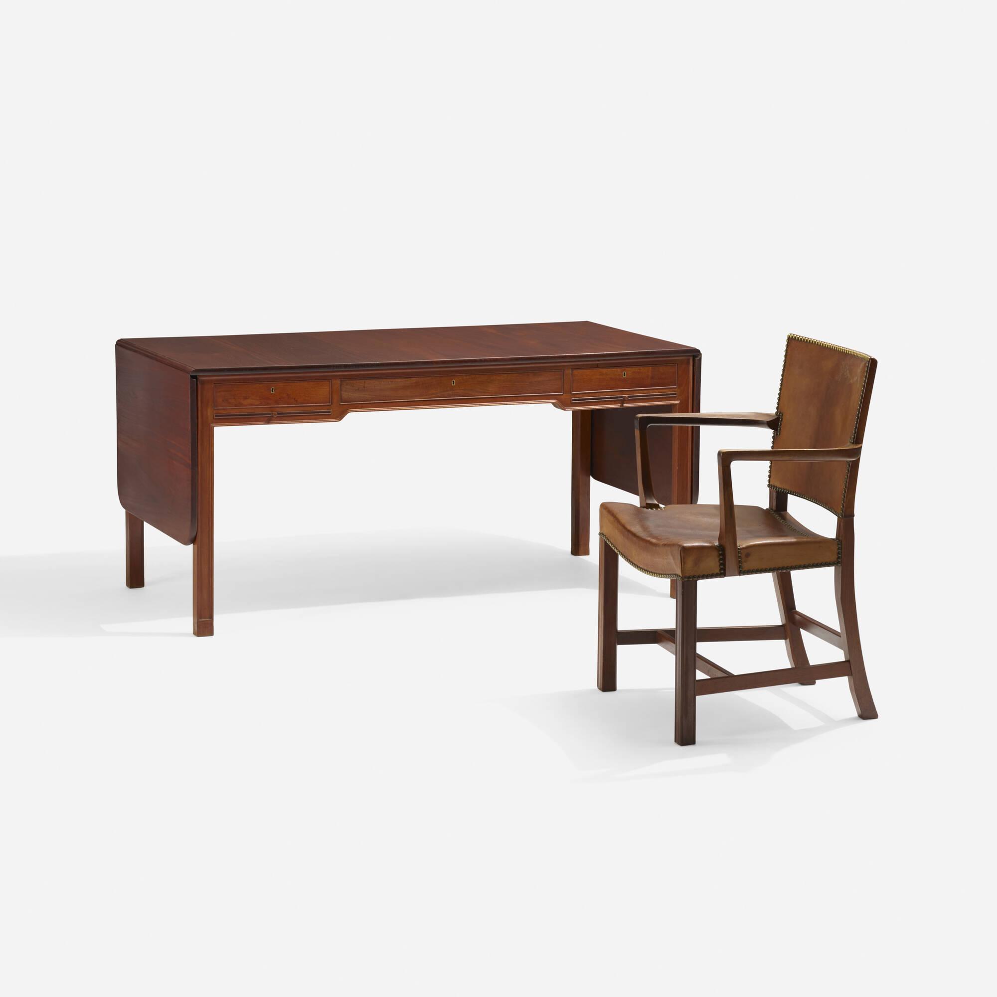 185: Kaare Klint / Red armchair and desk, model 4155 (1 of 2)