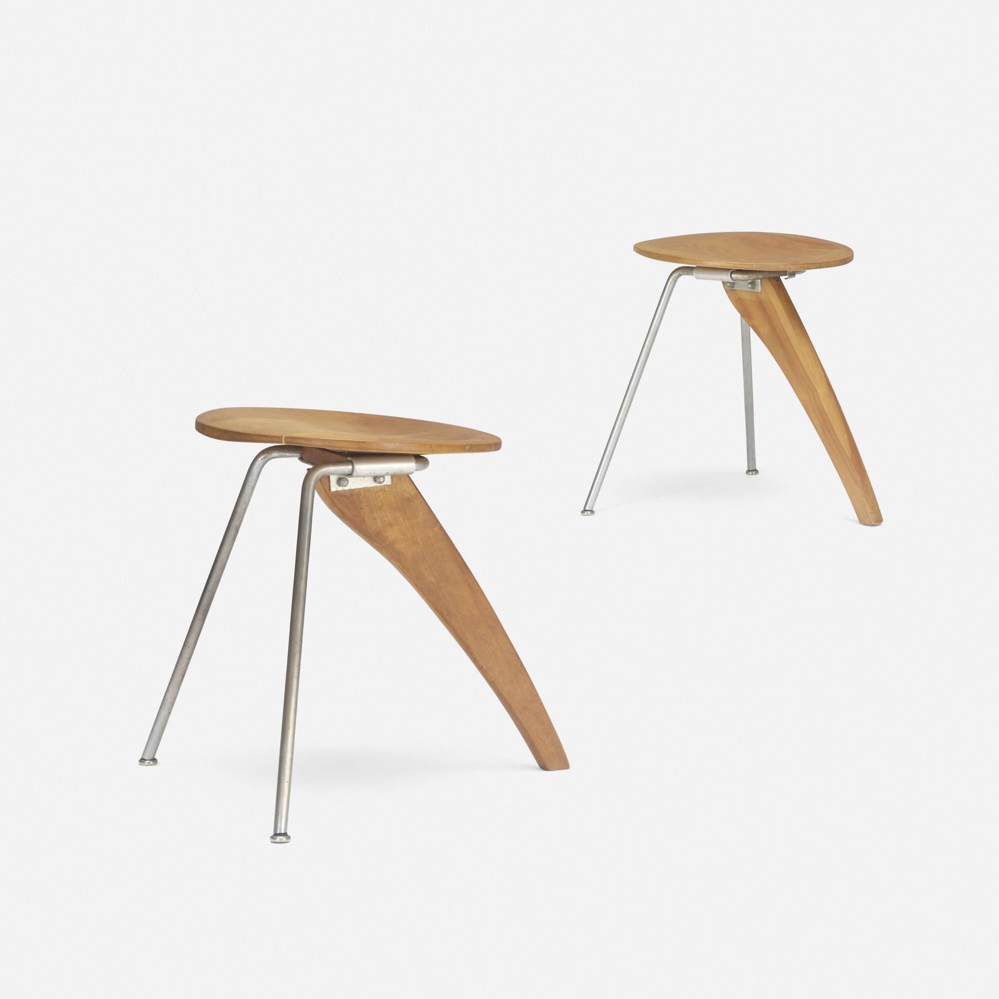 190: Isamu Noguchi / Rudder Stools Model IN 22, Pair (1 Of