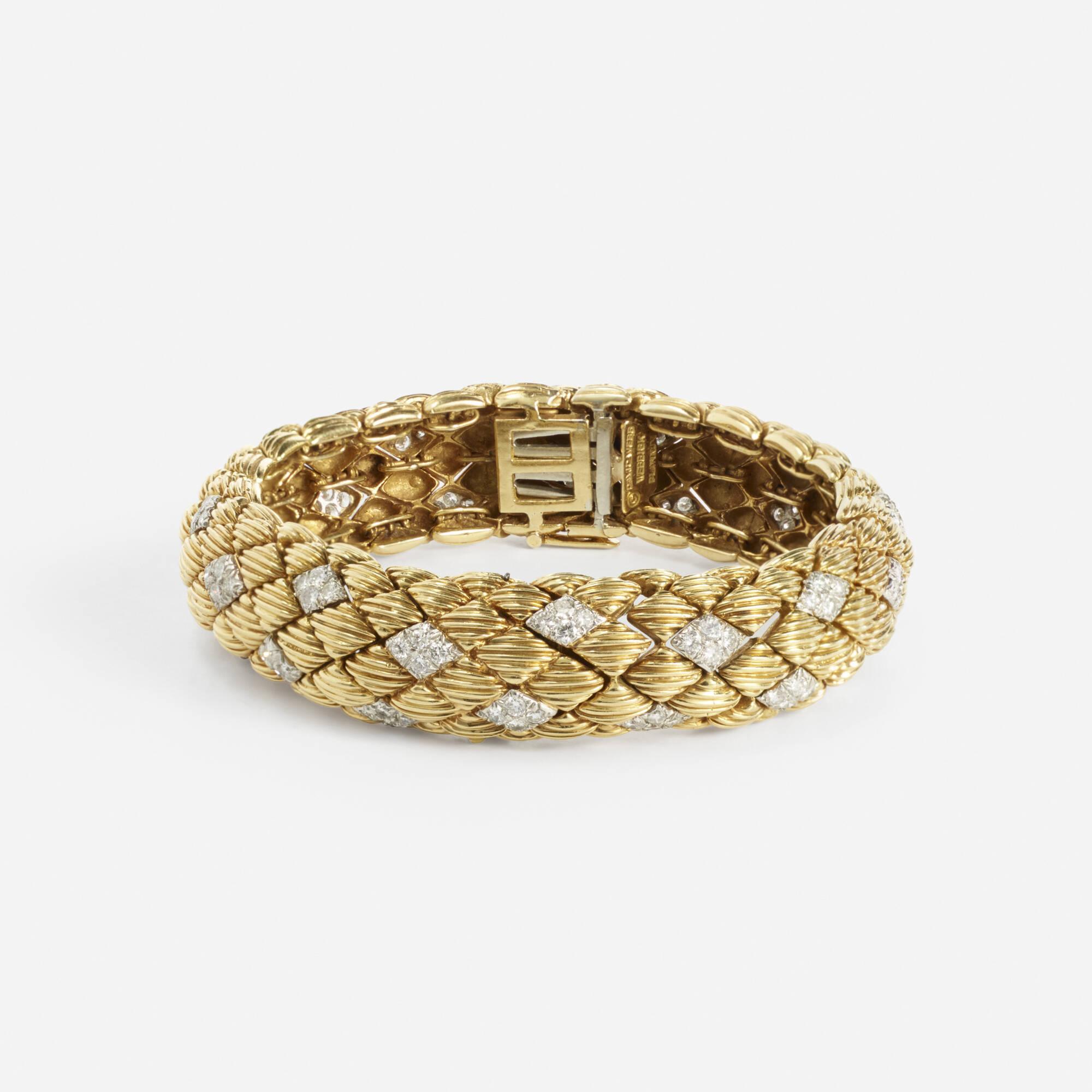 191: David Webb / A gold, platinum and diamond bracelet watch (1 of 1)