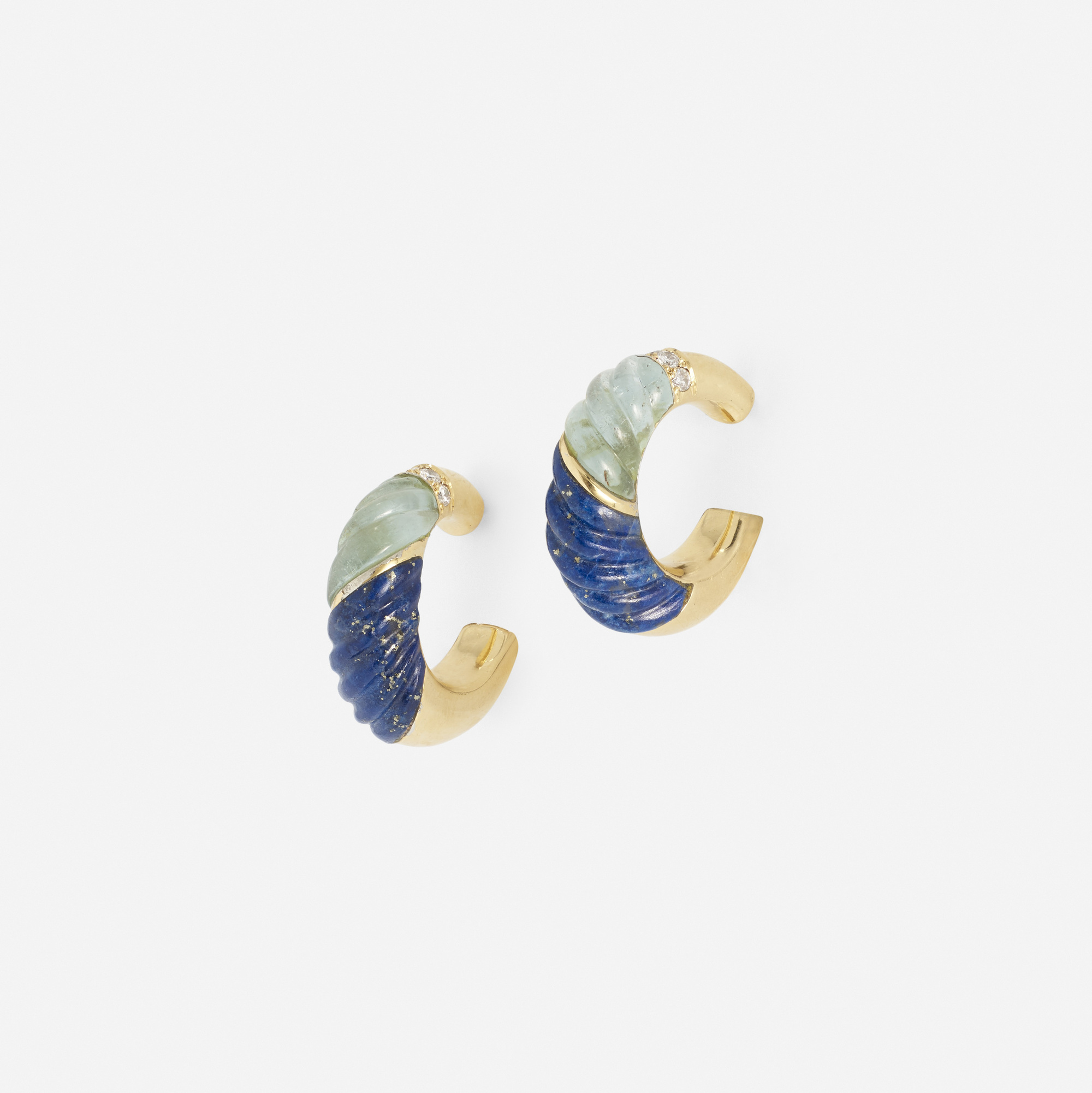 193: Van Cleef & Arpels / A pair of gold, diamond, lapis lazuli and aquamarine earrings (1 of 1)