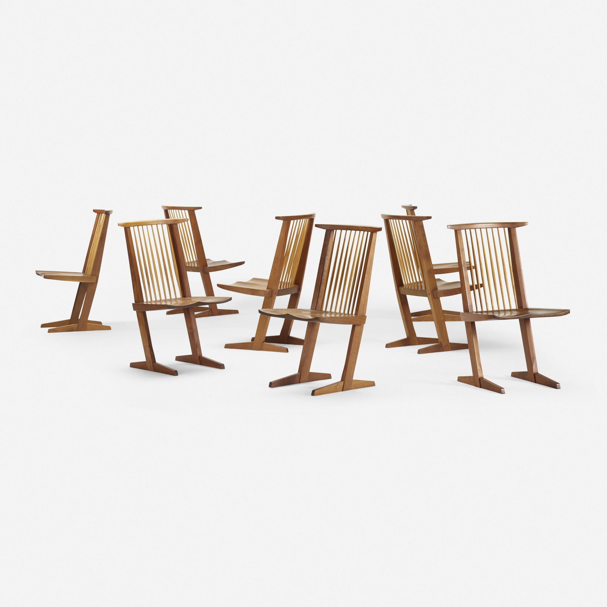 193 George Nakashima Conoid dining chairs set of eight