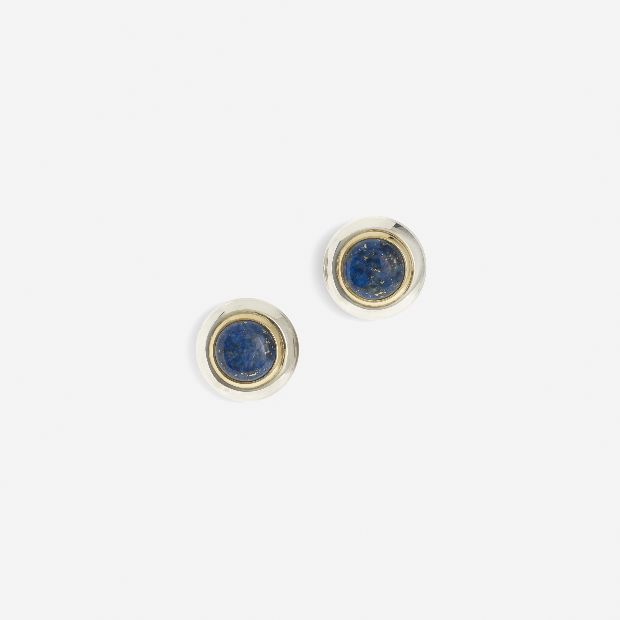 194: Gucci / A pair of sterling silver, gold and lapis lazuli button earrings (1 of 1)