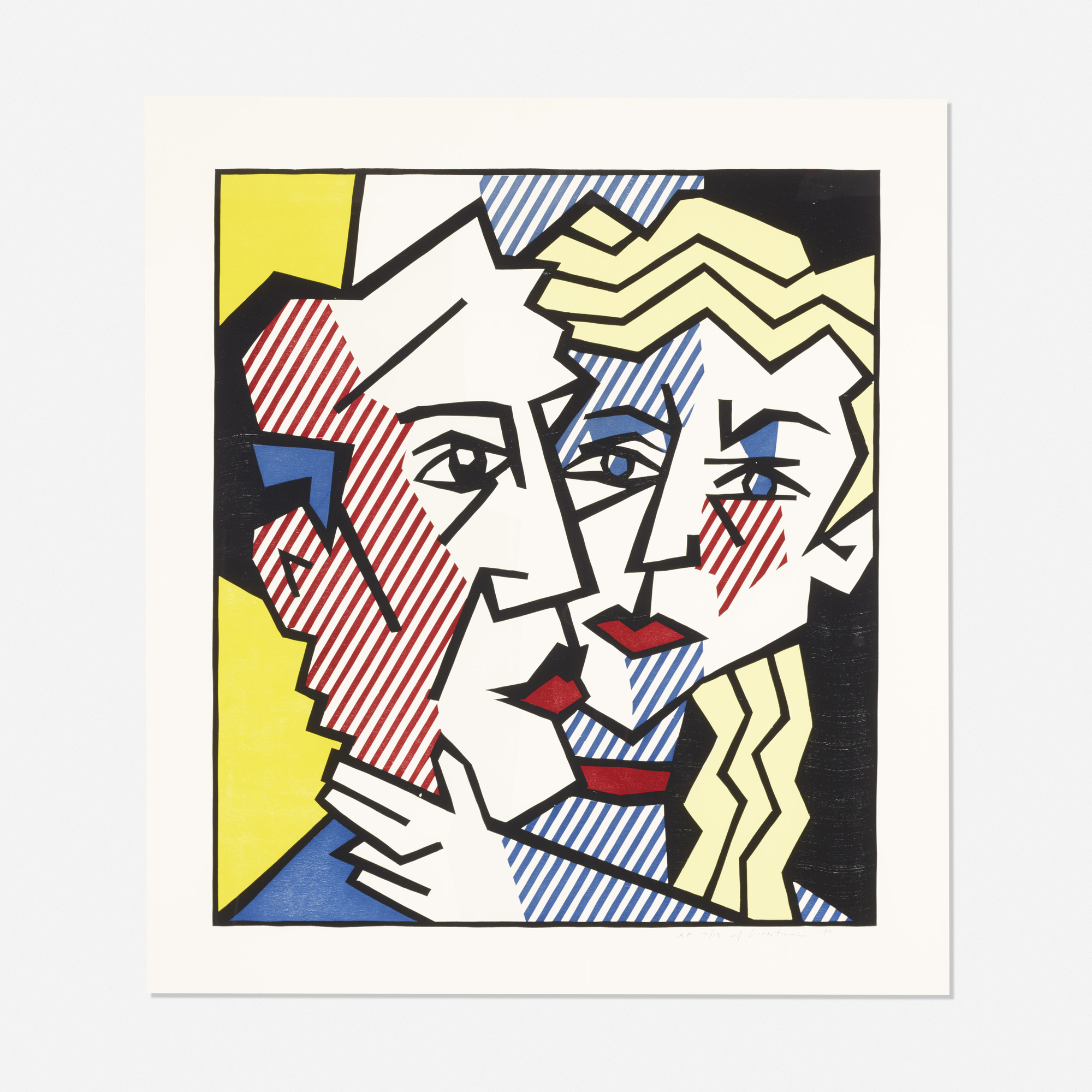 197 roy lichtenstein the couple from the expressionist woodcut series. Black Bedroom Furniture Sets. Home Design Ideas