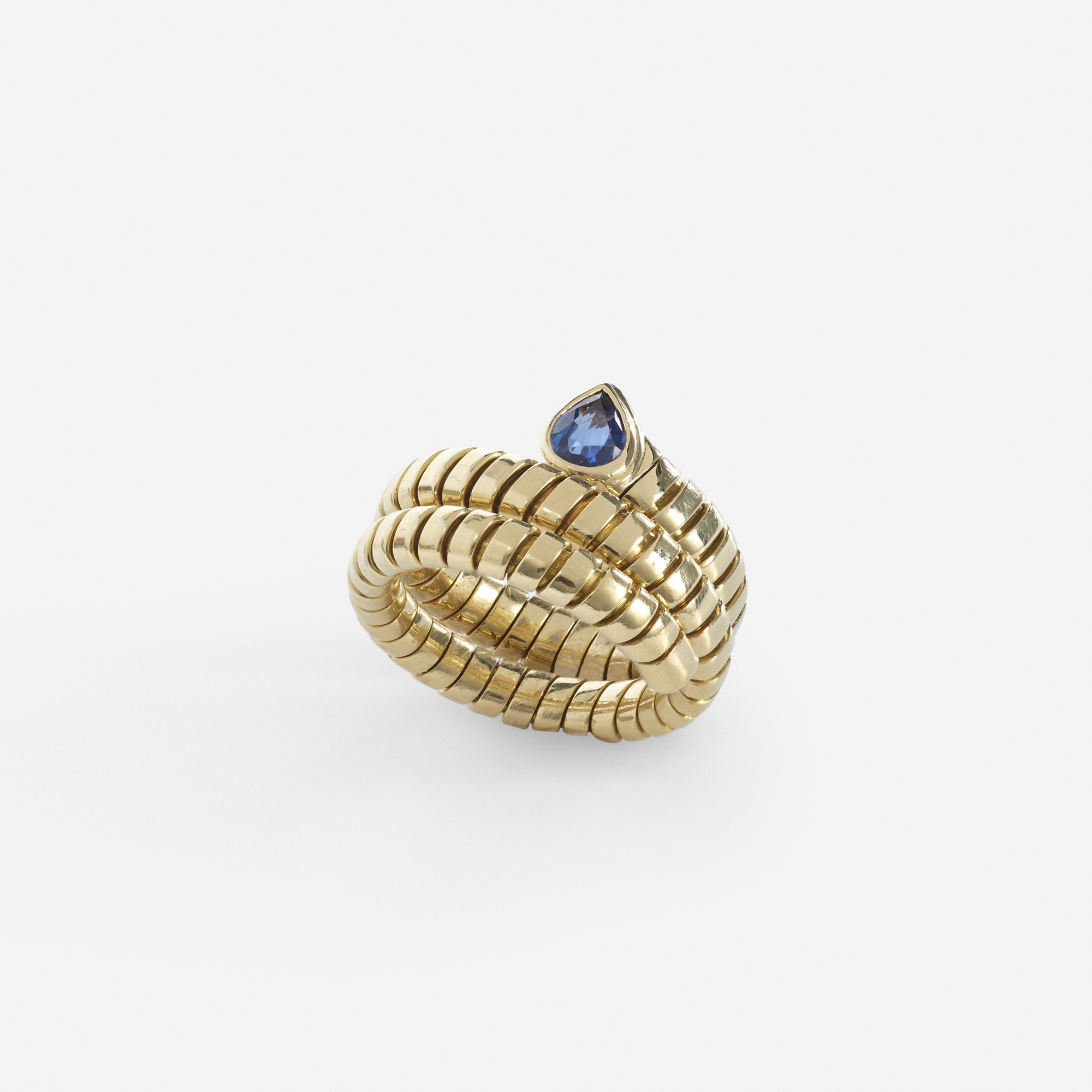 201: Bulgari / A gold and sapphire Tubogas ring (1 of 2)