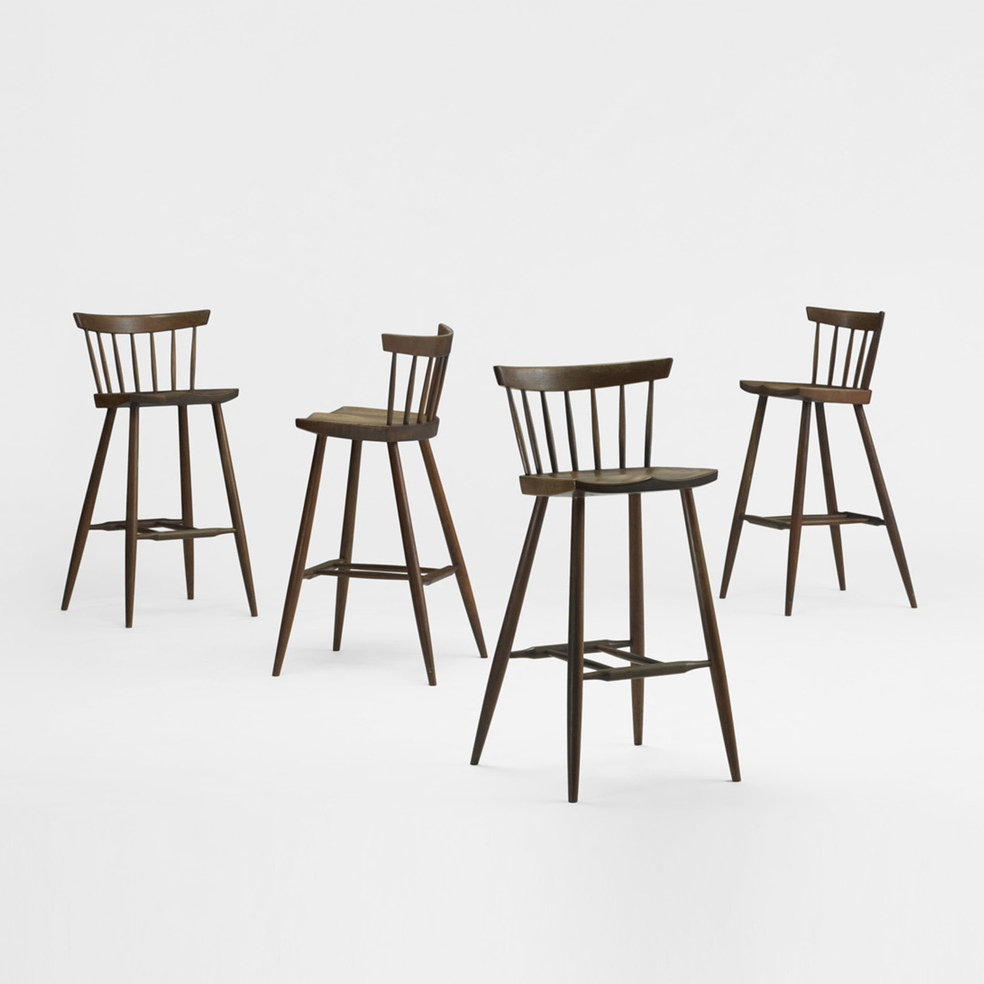 212: George Nakashima / Four Legged High Chairs, Set Of Four (1