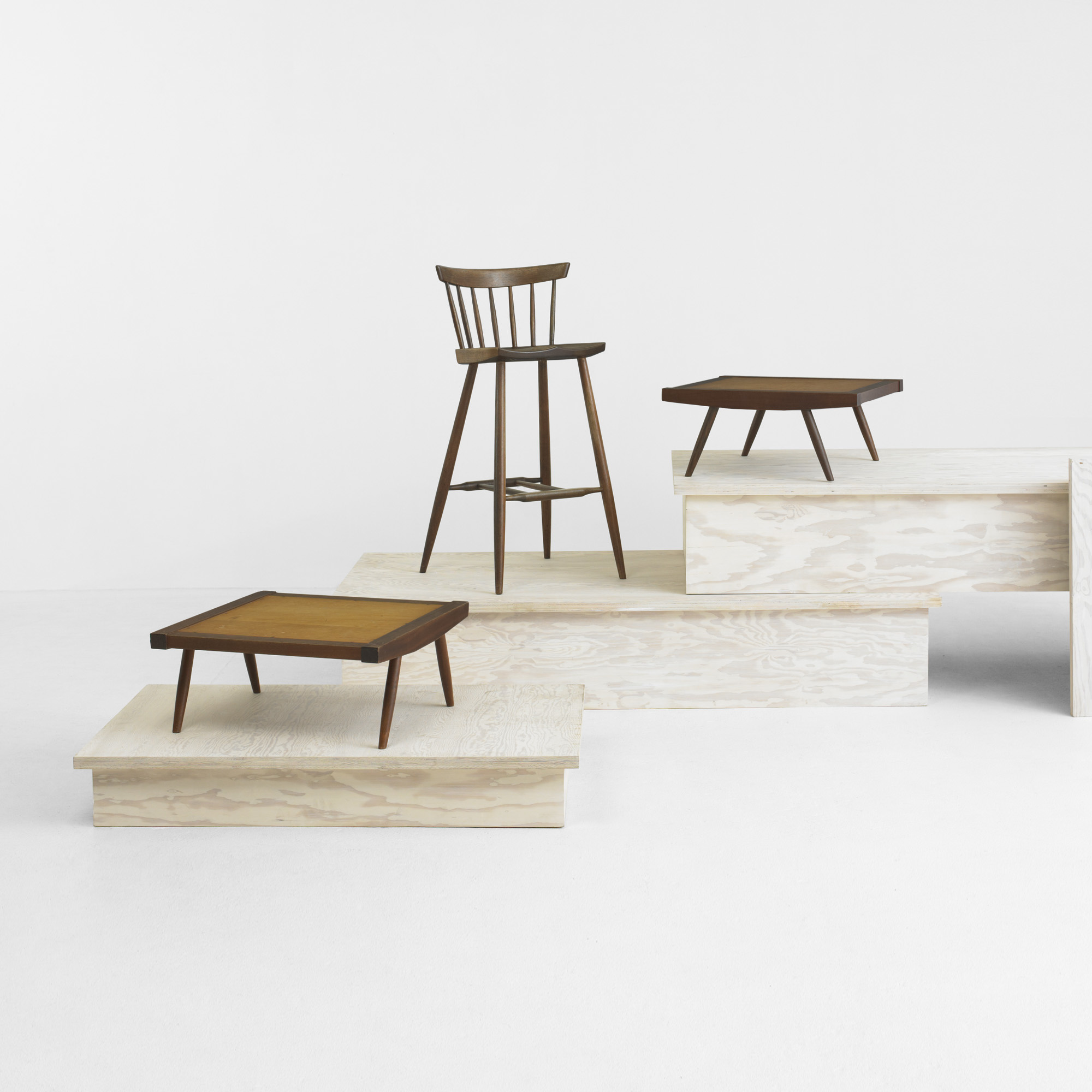 ... 212: George Nakashima / Four Legged High Chairs, Set Of Four (2