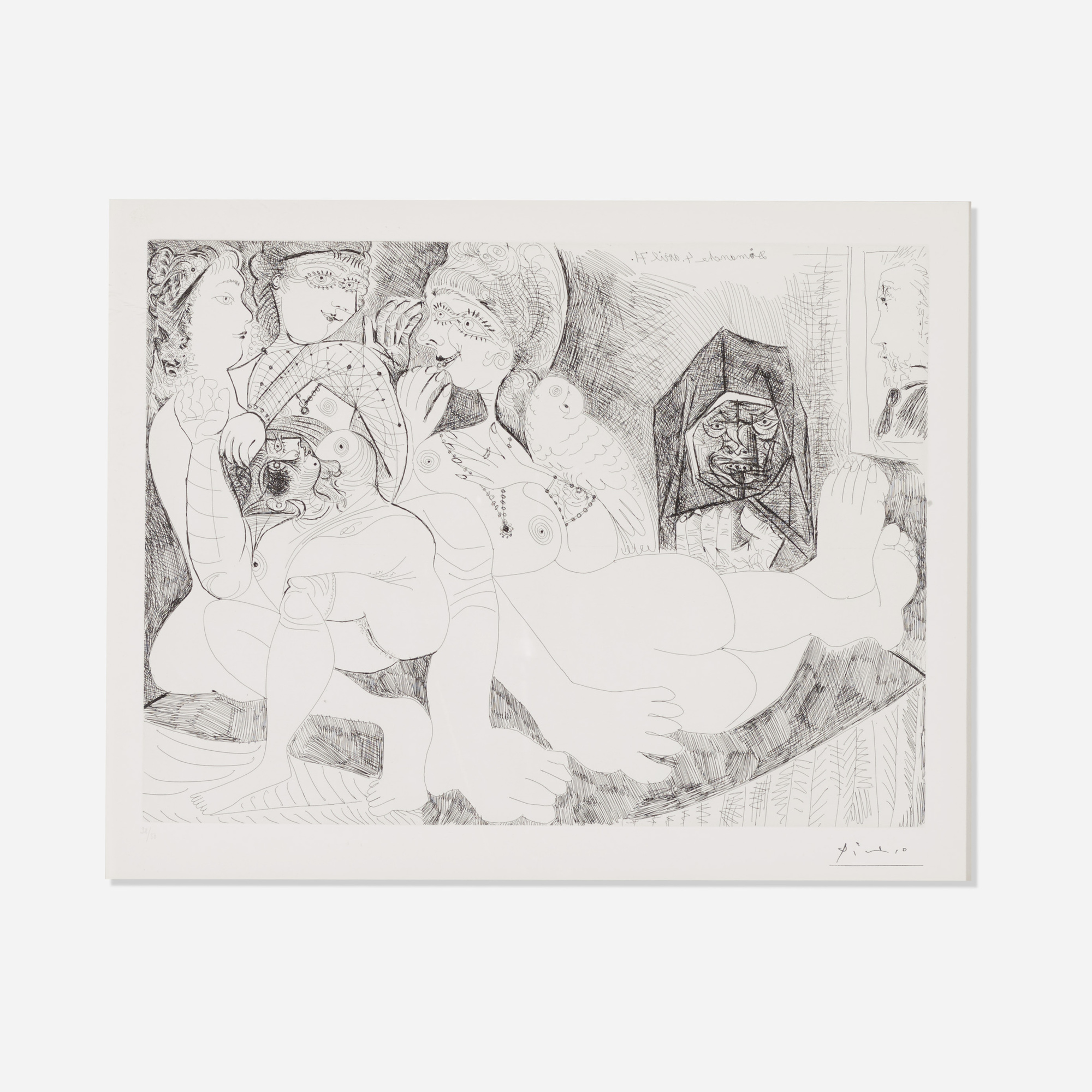214: Pablo Picasso / Maison close. Bavardages, avec perroquet, Célestine, et le portait de Degas, (plate 109 from Series 156) (1 of 1)