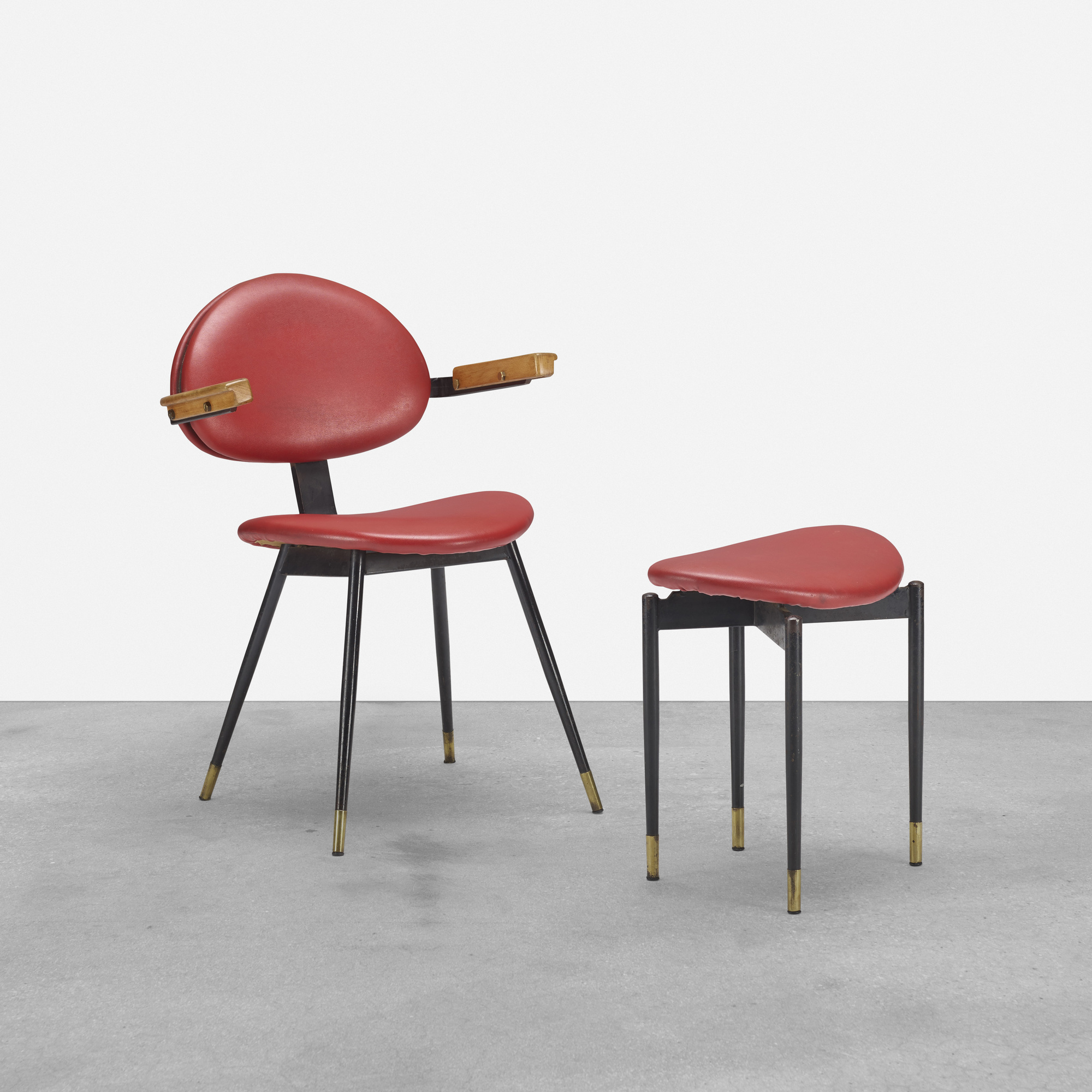 216: Carlo Mollino / chair and ottoman from Lutrario Hall, Turin (1 of 1)