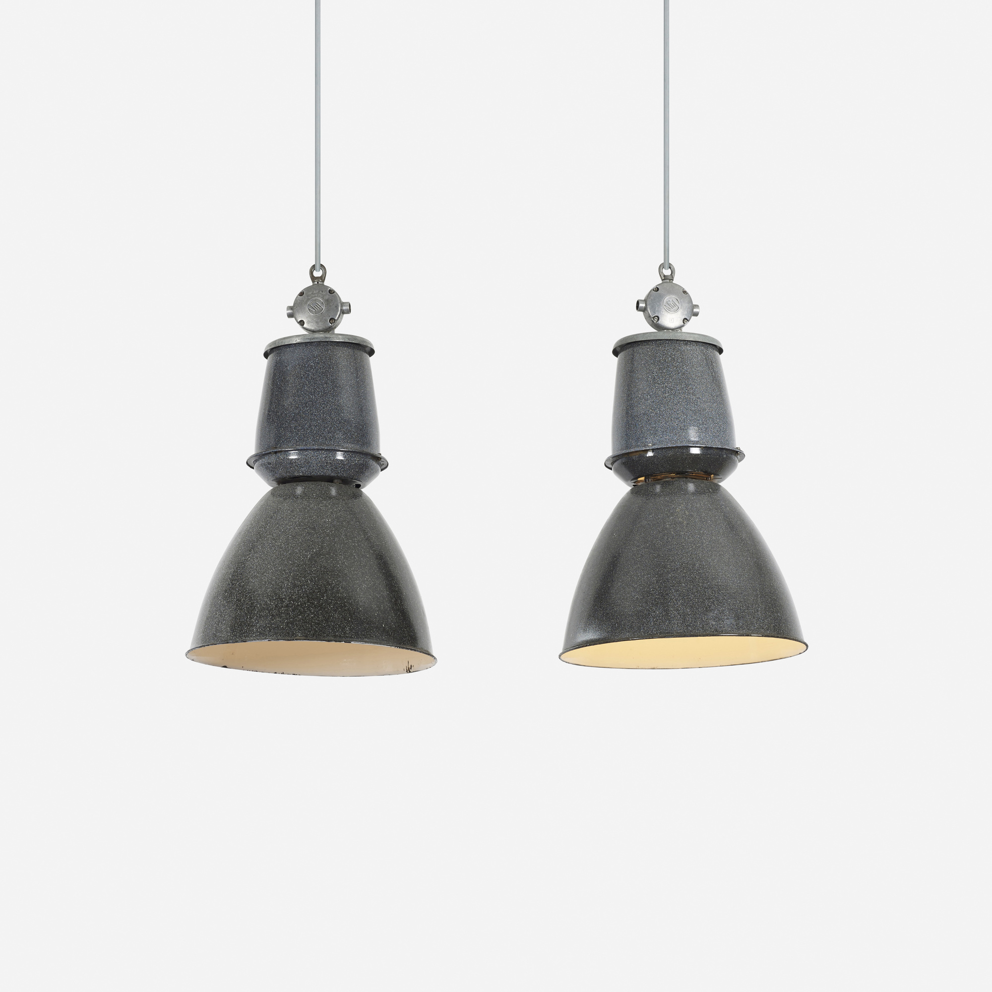 221: Industrial / pendant lights, pair (1 of 2)