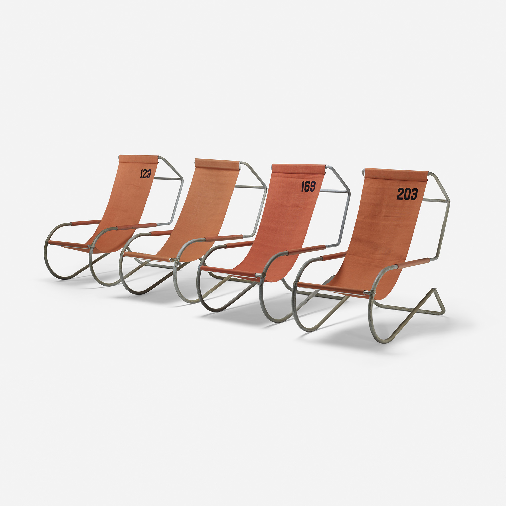 223 battista and gino giudici set of four deck chairs from lido