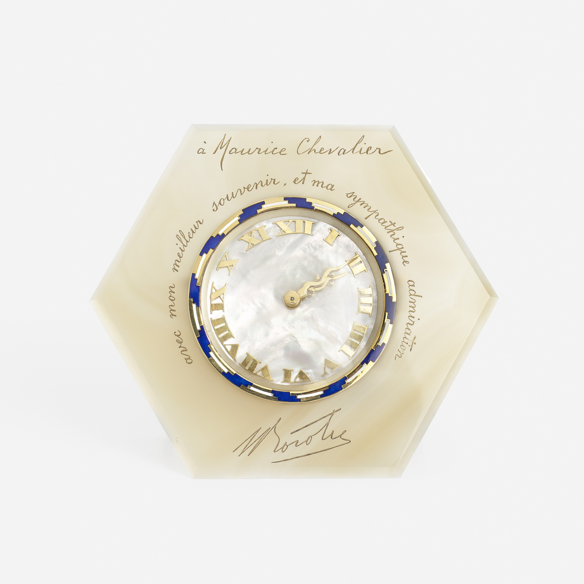 224: Art Deco / A gold, agate, mother-of-pearl and enamel table clock for Maurice Chevalier (1 of 1)
