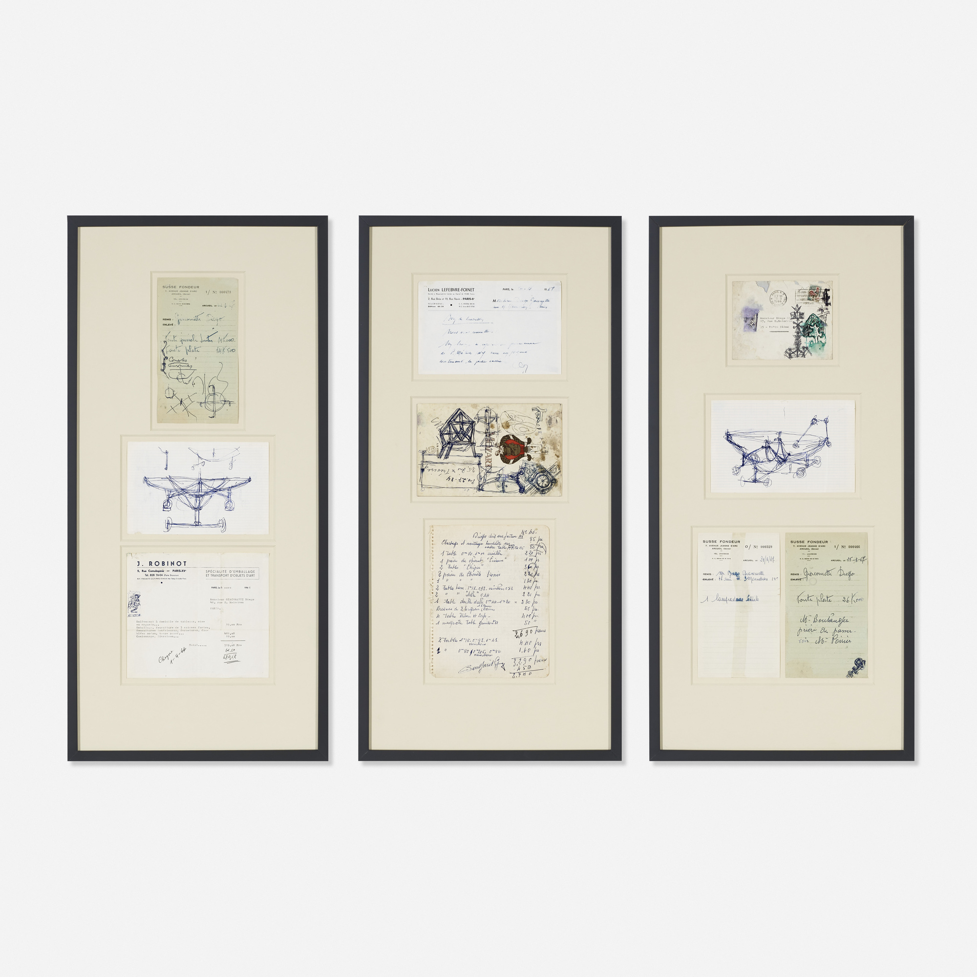 227: Diego Giacometti / collection of nine sketches and ephemera (1 of 1)