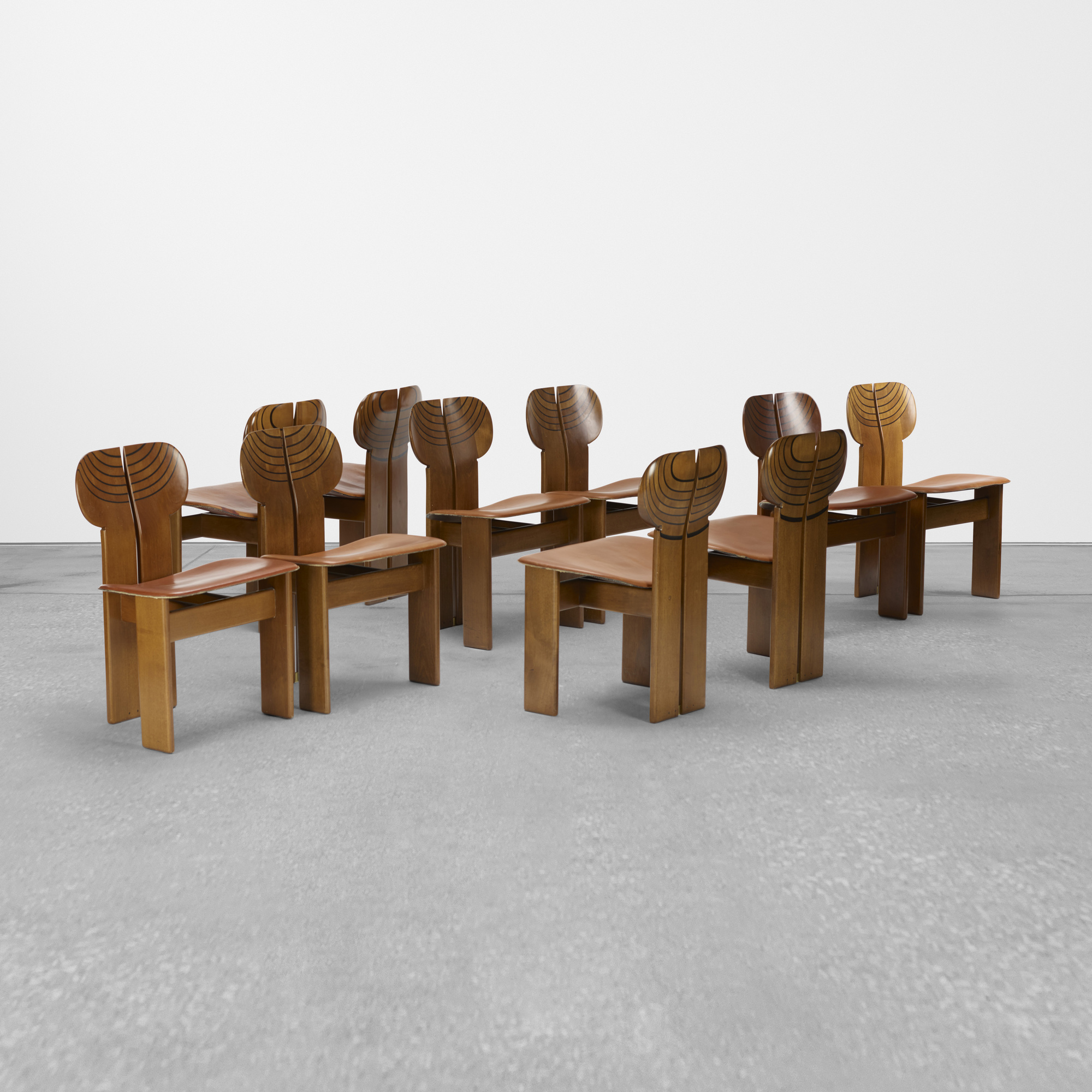 227: Afra and Tobia Scarpa / set of ten Africa chairs from the Artona series (1 of 4)