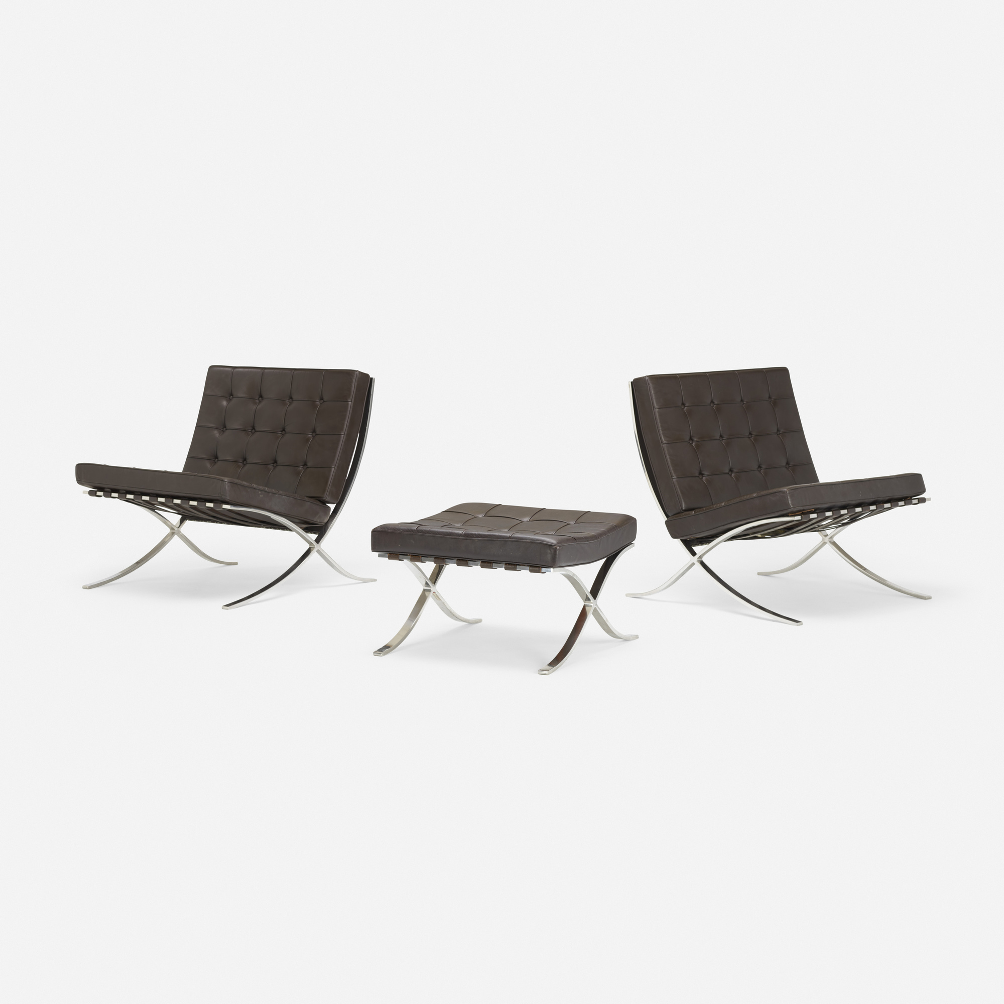 230: Ludwig Mies van der Rohe / pair of Barcelona chairs and ottoman (1 of 3)