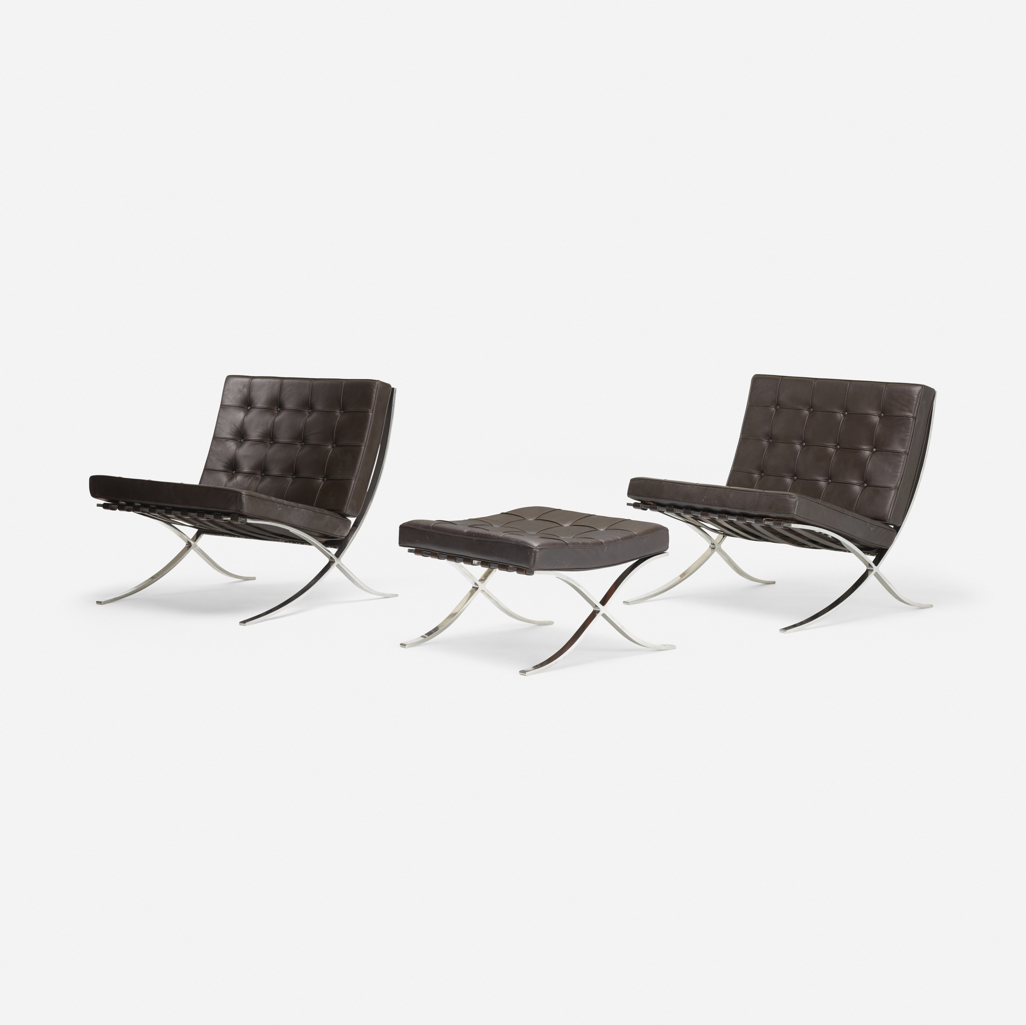 230: Ludwig Mies van der Rohe / pair of Barcelona chairs and ottoman (2 of 3)