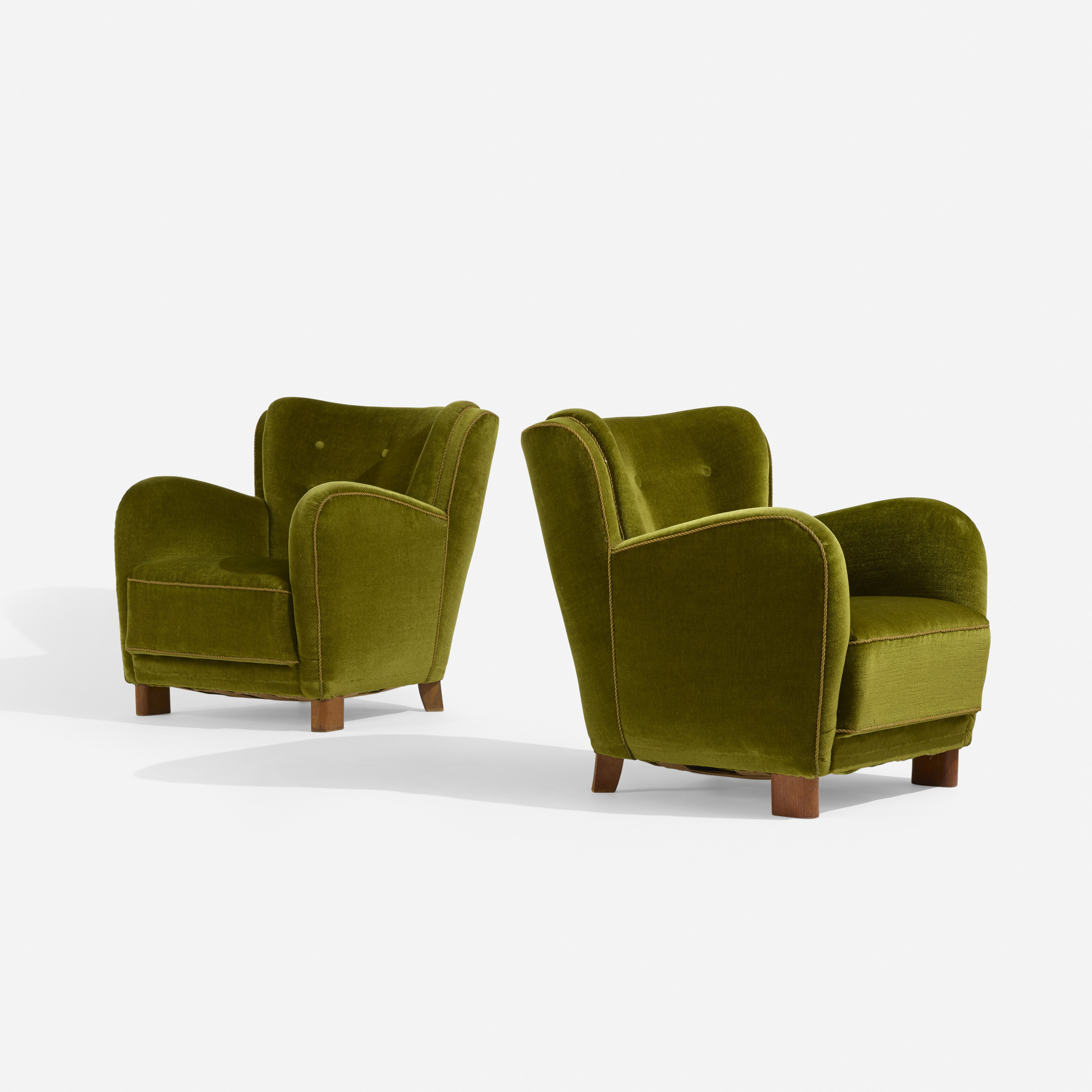 232: Fritz Hansen, attribution / lounge chairs, pair (1 of 3)