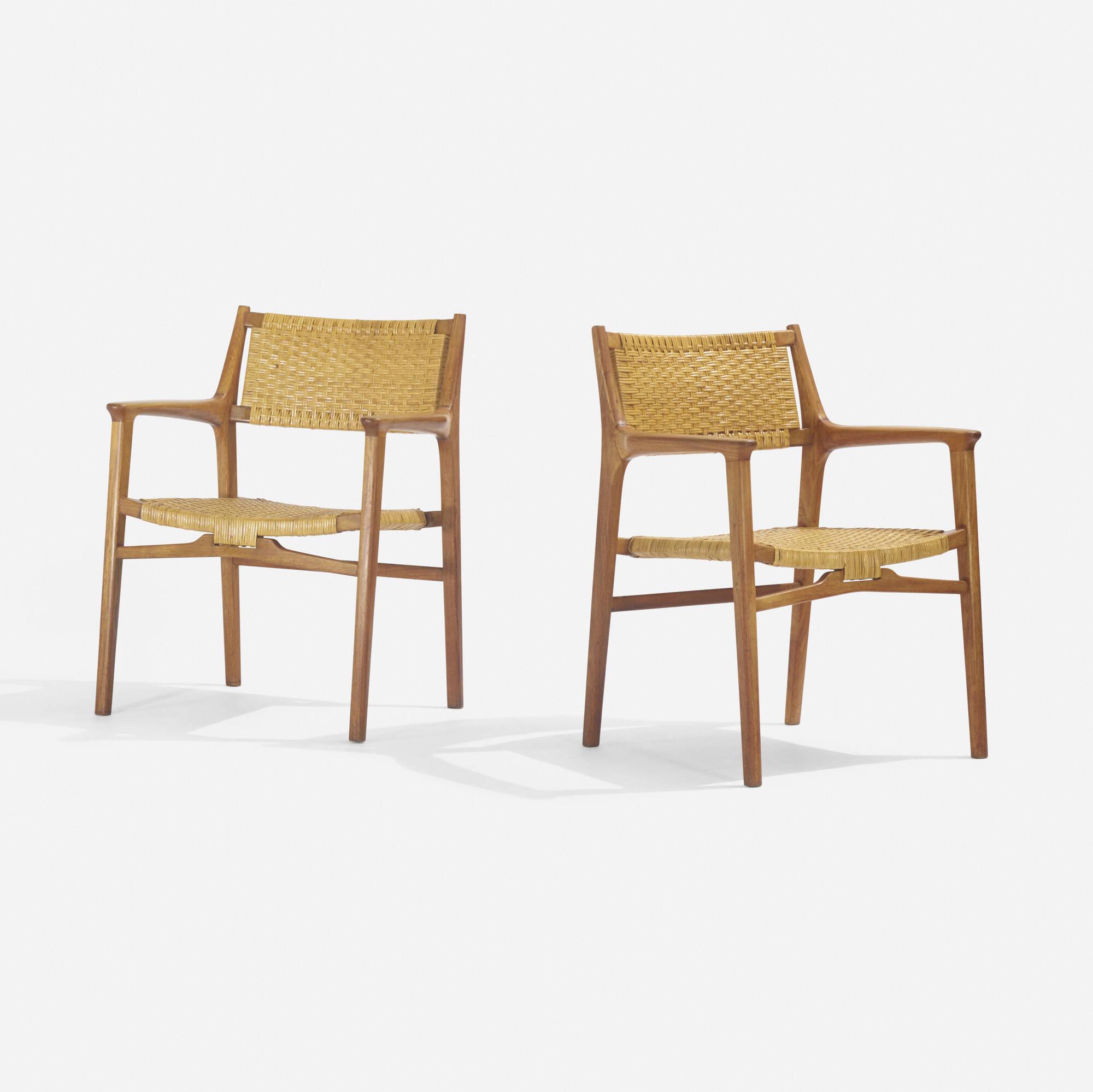 233: Hans J. Wegner / rare lounge chairs, pair (1 of 3)