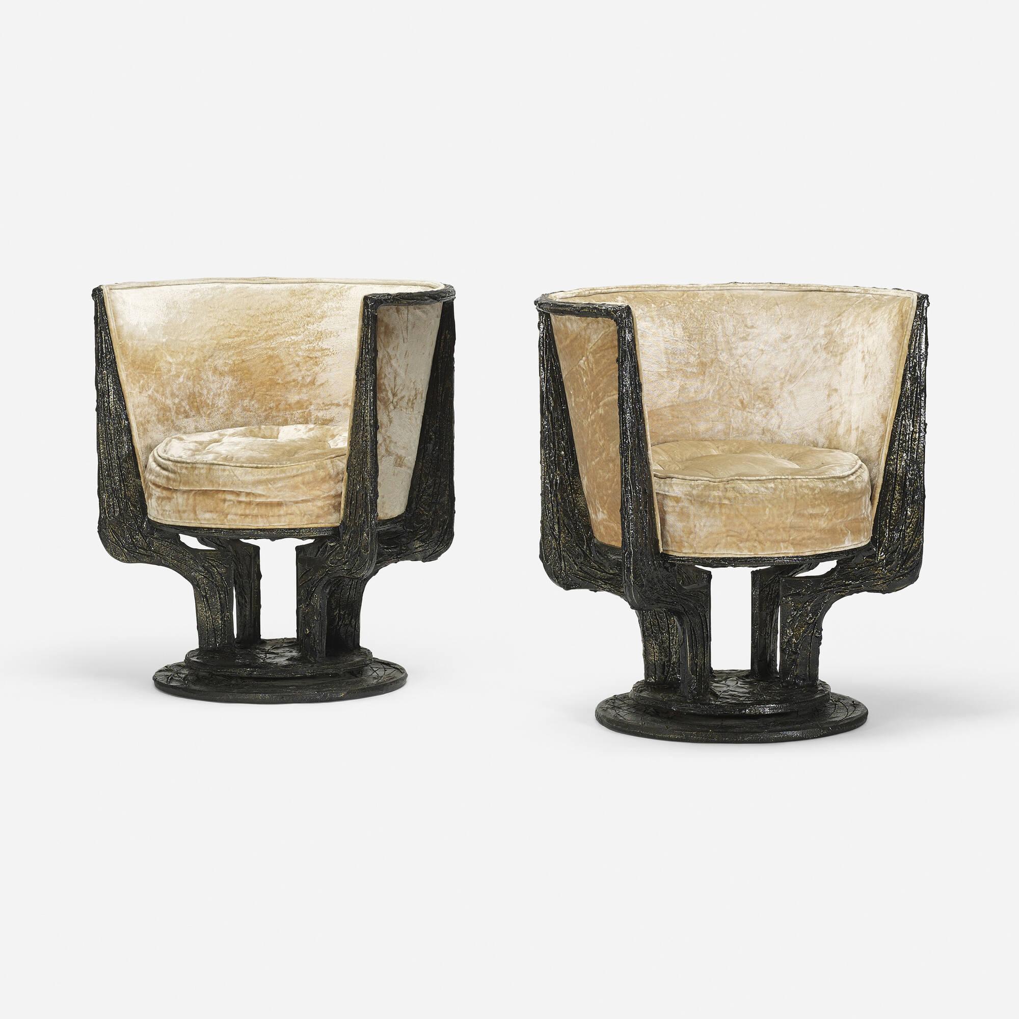 Delightful ... 233: Paul Evans / Sculpted Metal Lounge Chairs Model PE 141, Pair (