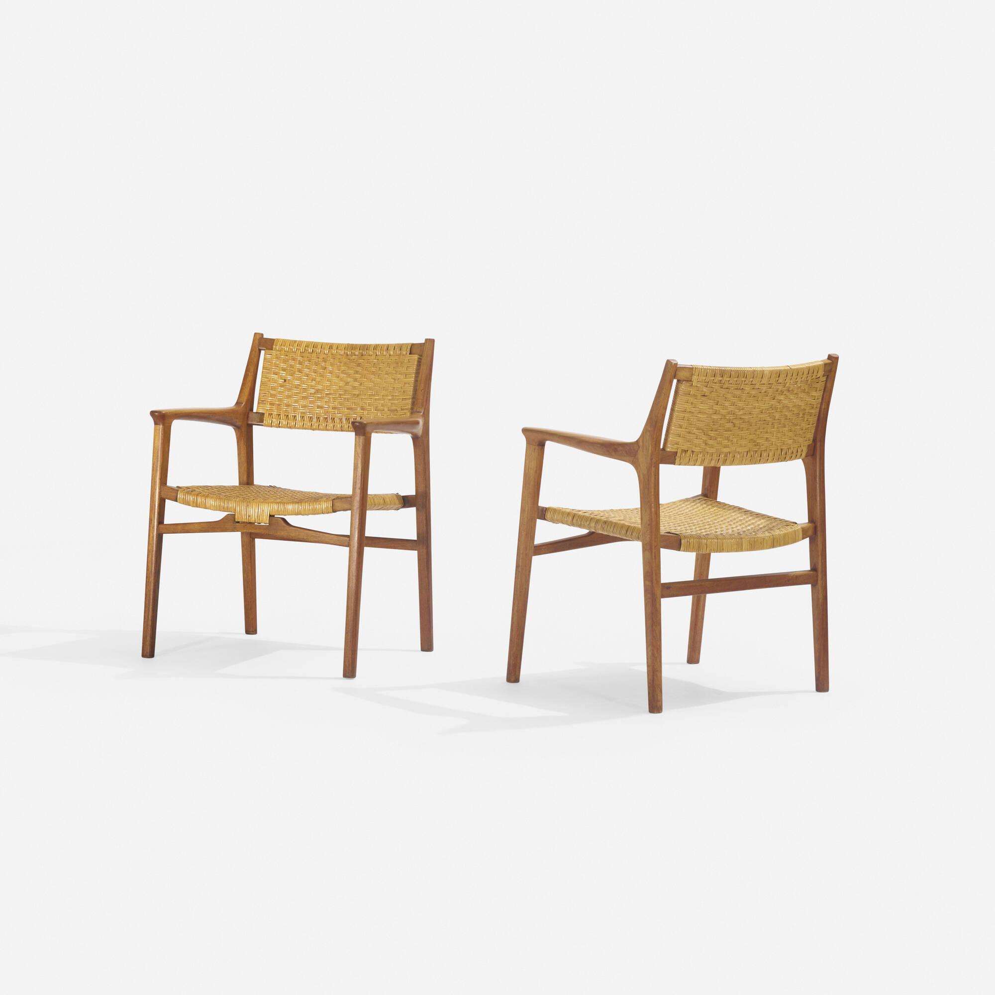 233: Hans J. Wegner / rare lounge chairs, pair (2 of 3)