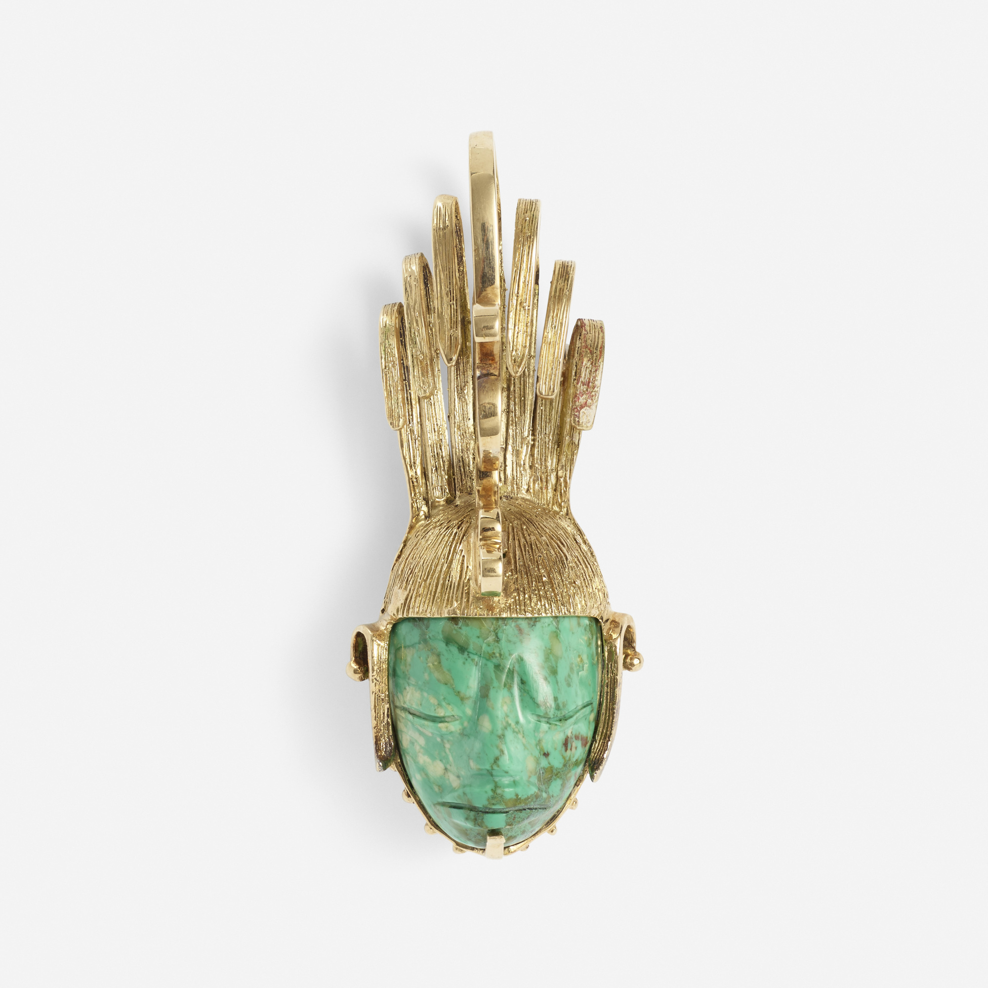 234:  / A gold and malachite pendant (1 of 2)